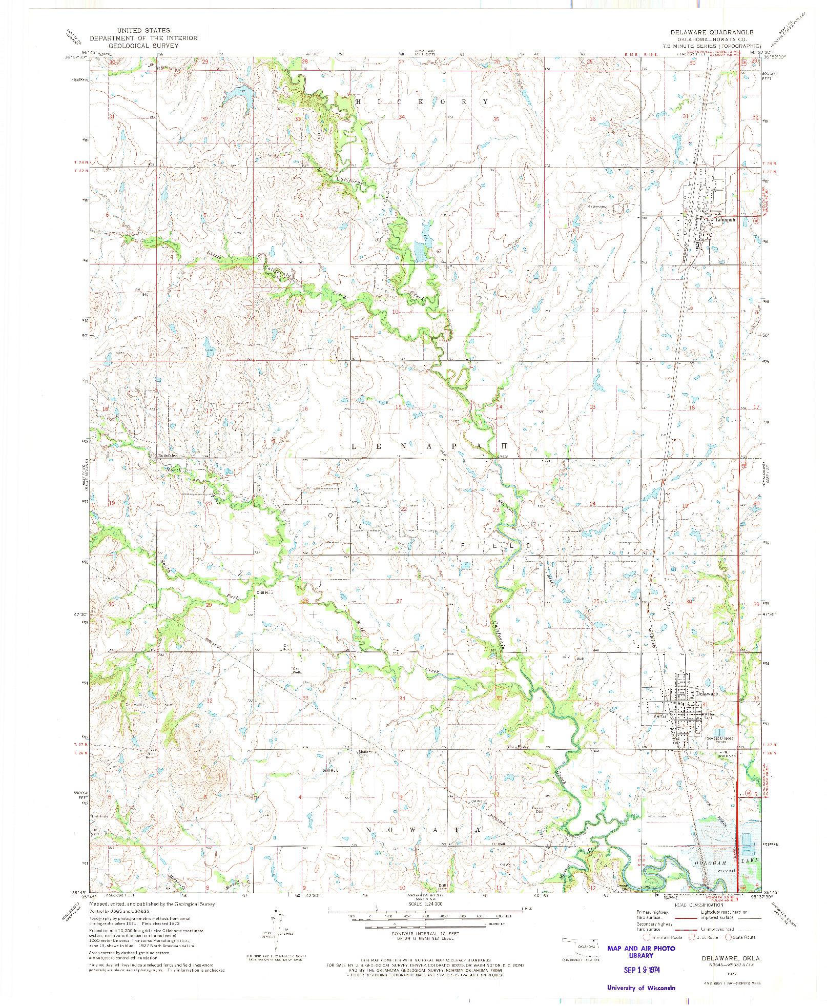 USGS 1:24000-SCALE QUADRANGLE FOR DELAWARE, OK 1972