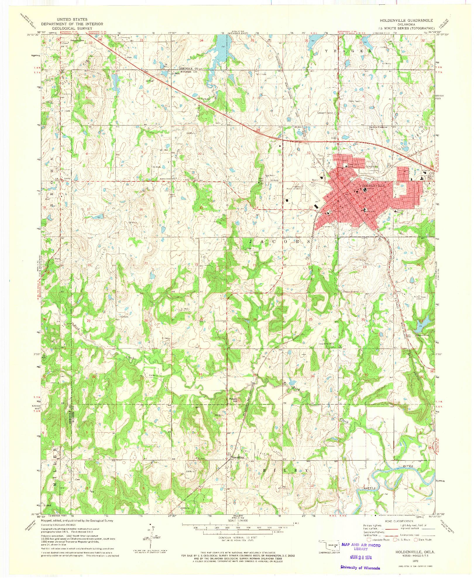 USGS 1:24000-SCALE QUADRANGLE FOR HOLDENVILLE, OK 1972