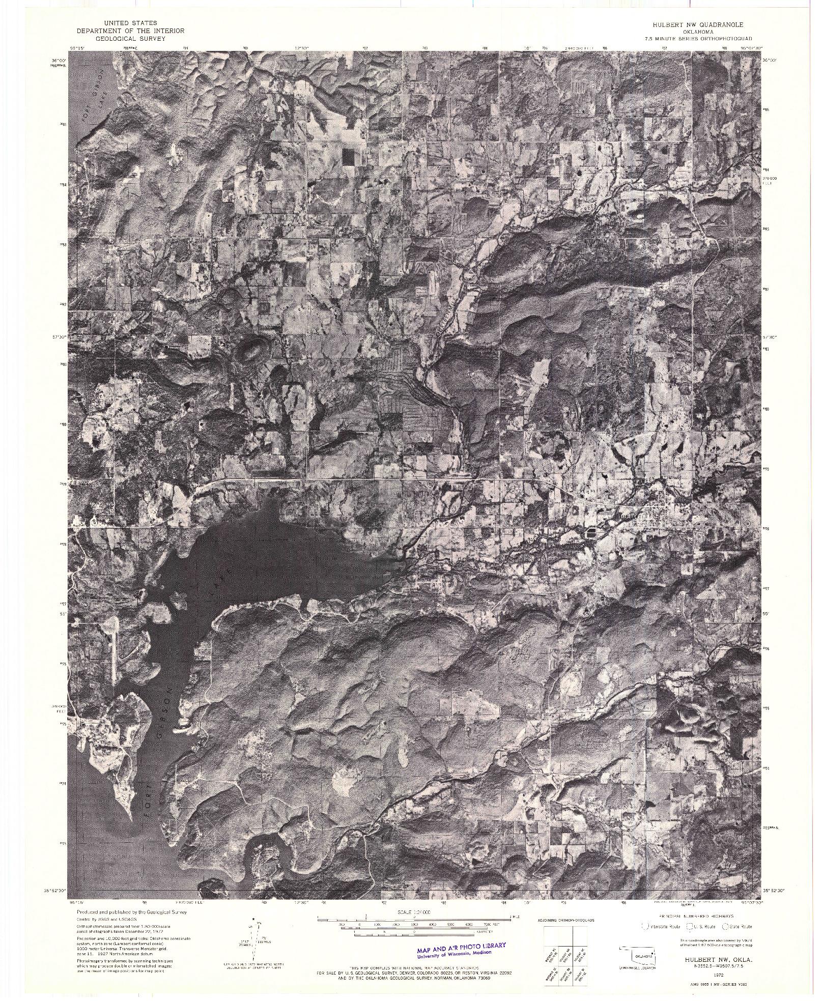 USGS 1:24000-SCALE QUADRANGLE FOR HULBERT NW, OK 1972