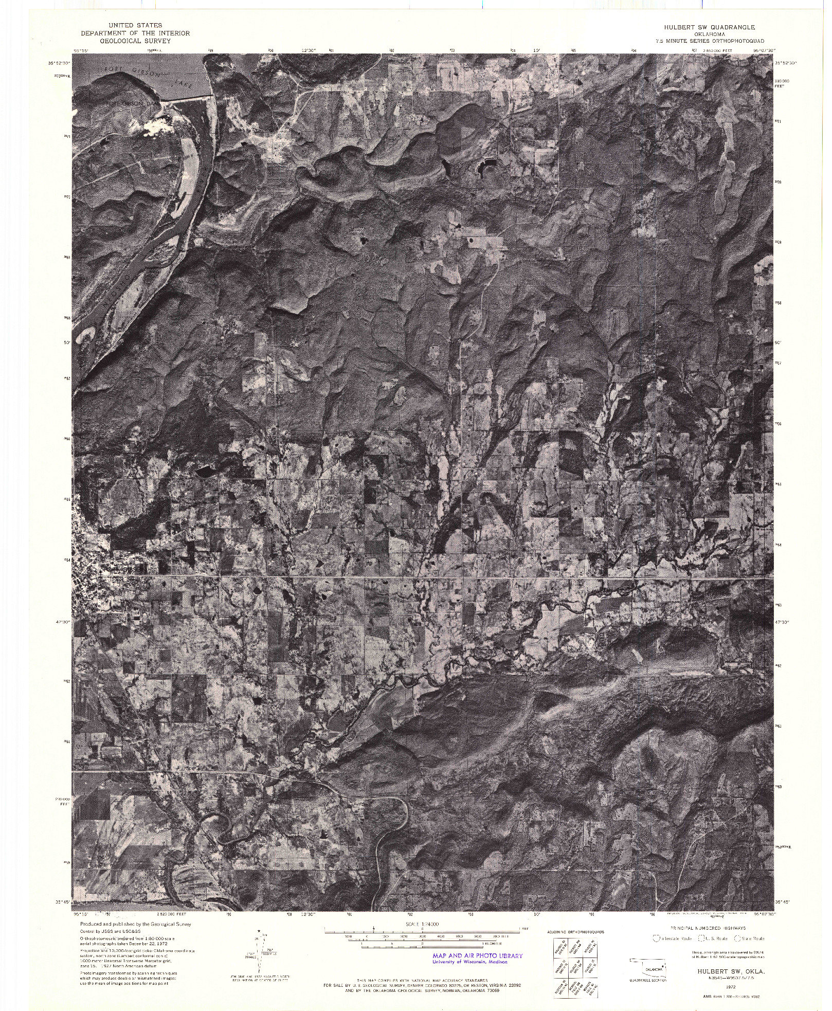 USGS 1:24000-SCALE QUADRANGLE FOR HULBERT SW, OK 1972