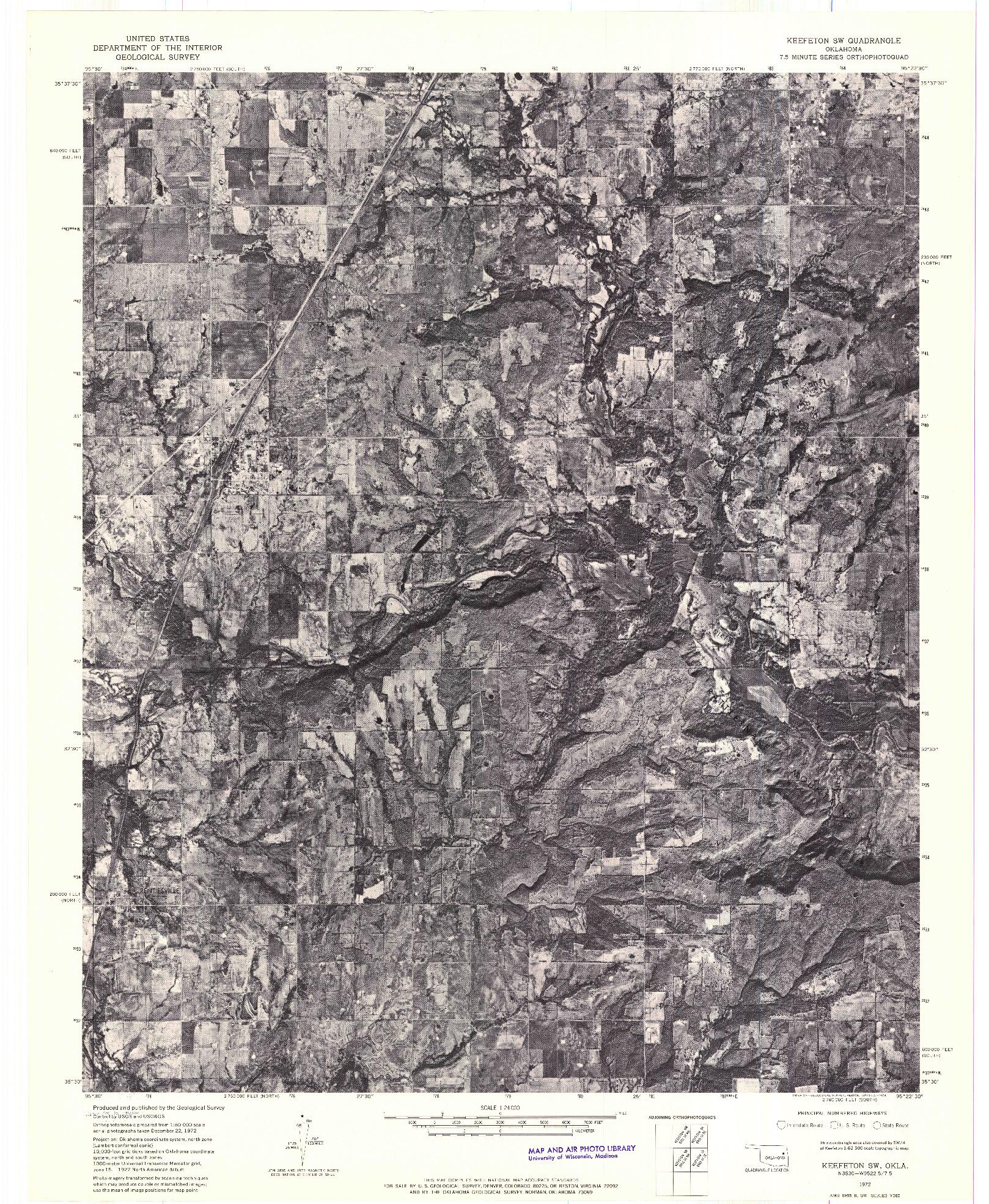 USGS 1:24000-SCALE QUADRANGLE FOR KEEFETON SW, OK 1972