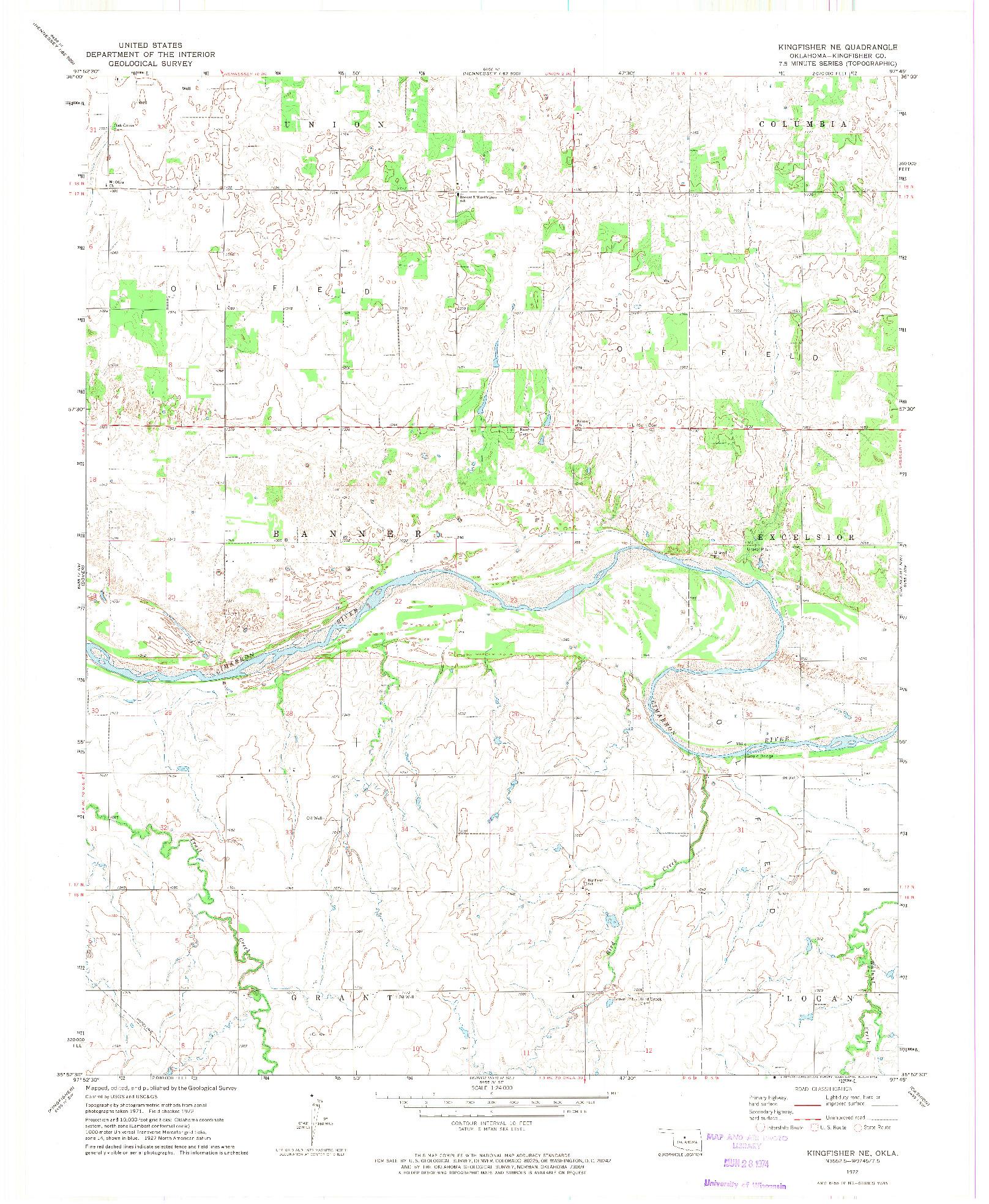 USGS 1:24000-SCALE QUADRANGLE FOR KINGFISHER NE, OK 1972