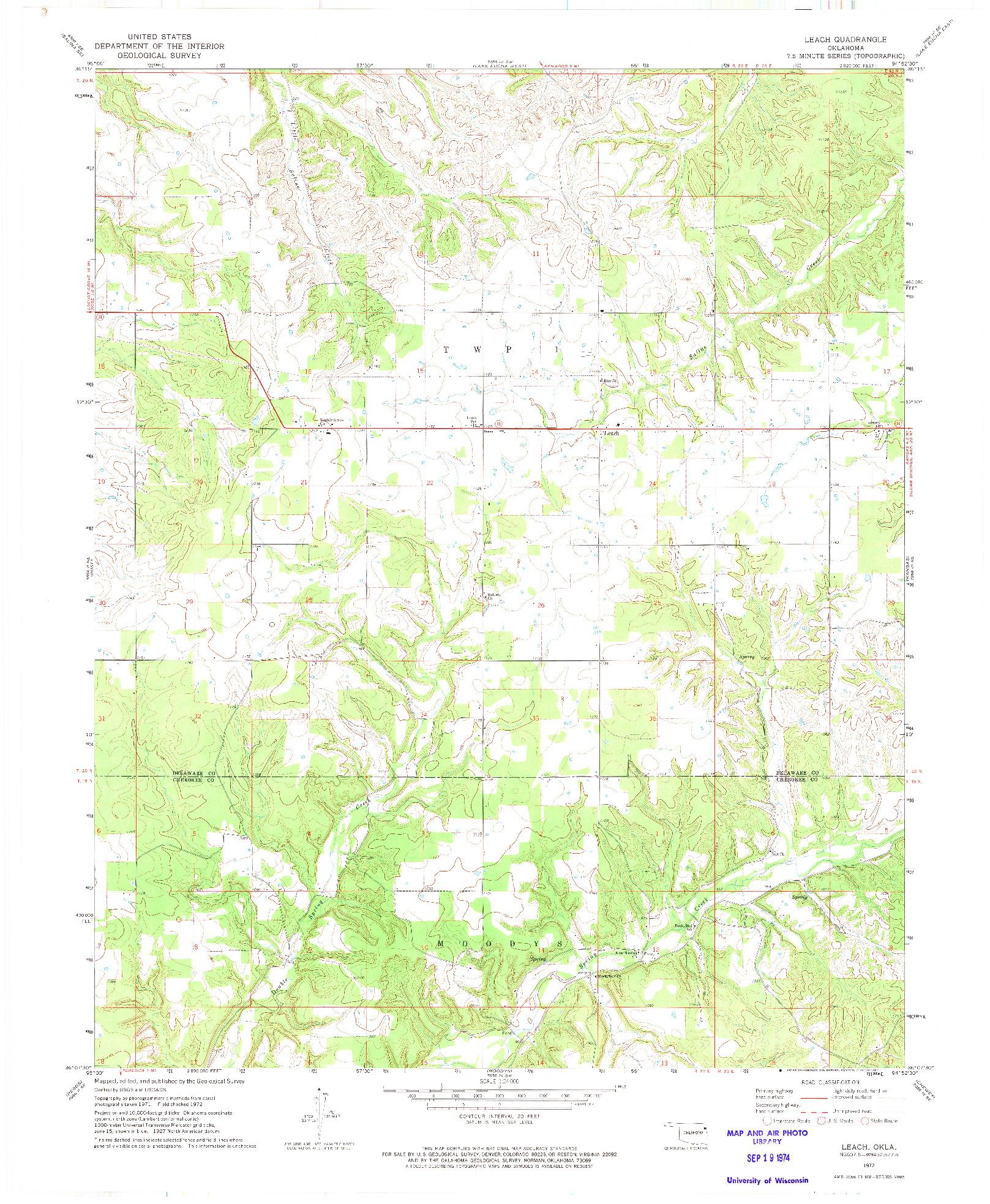 USGS 1:24000-SCALE QUADRANGLE FOR LEACH, OK 1972
