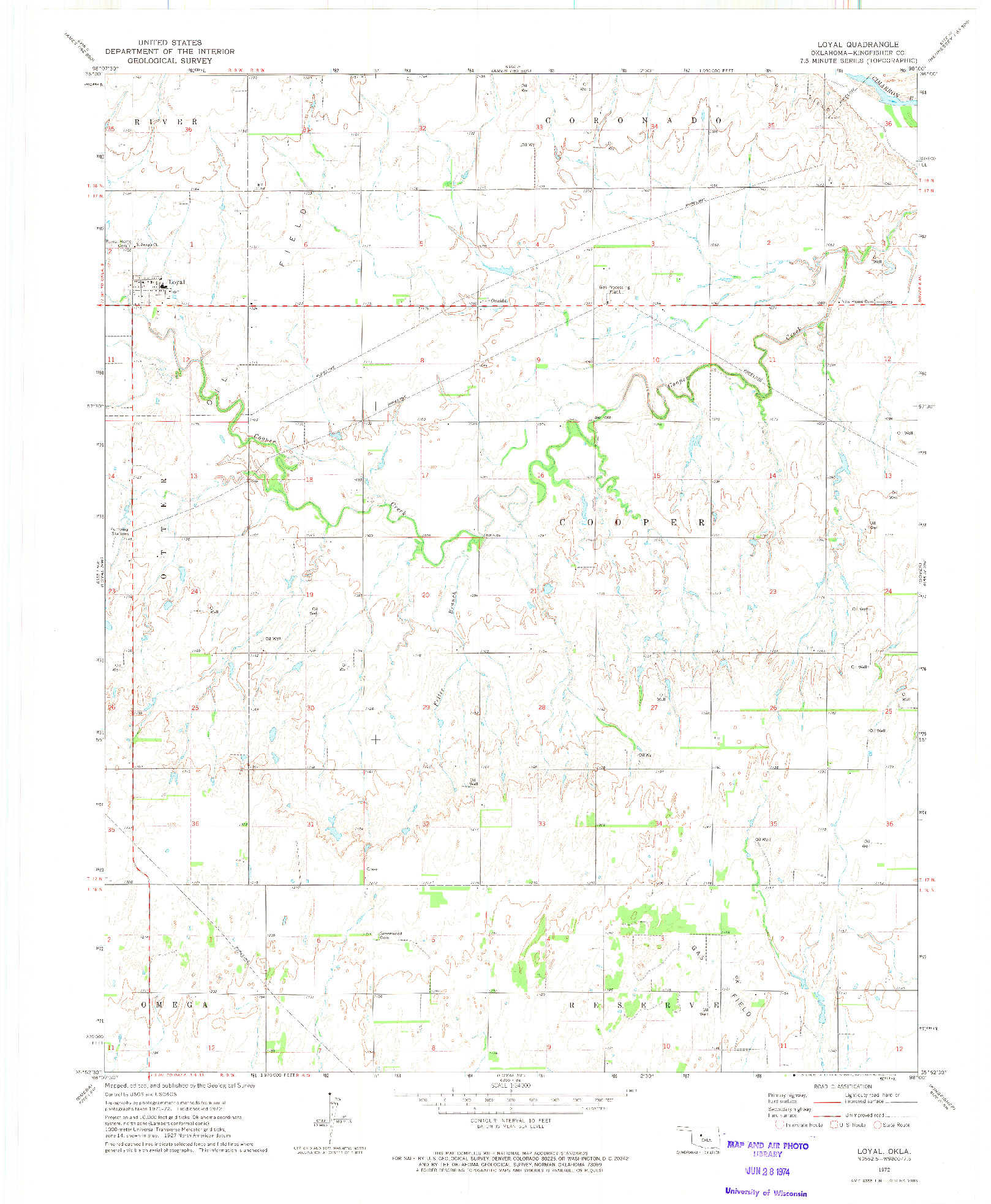 USGS 1:24000-SCALE QUADRANGLE FOR LOYAL, OK 1972