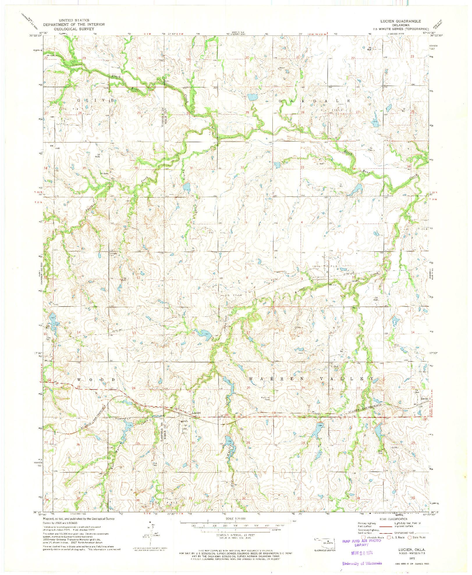 USGS 1:24000-SCALE QUADRANGLE FOR LUCIEN, OK 1972