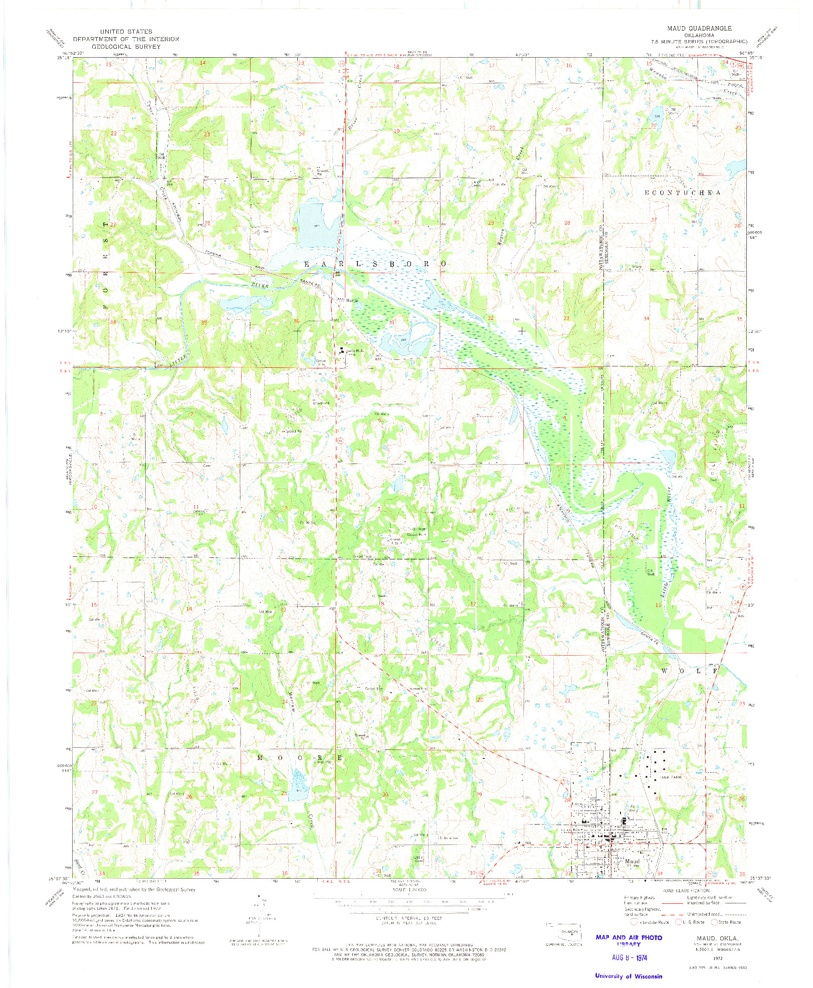 USGS 1:24000-SCALE QUADRANGLE FOR MAUD, OK 1972