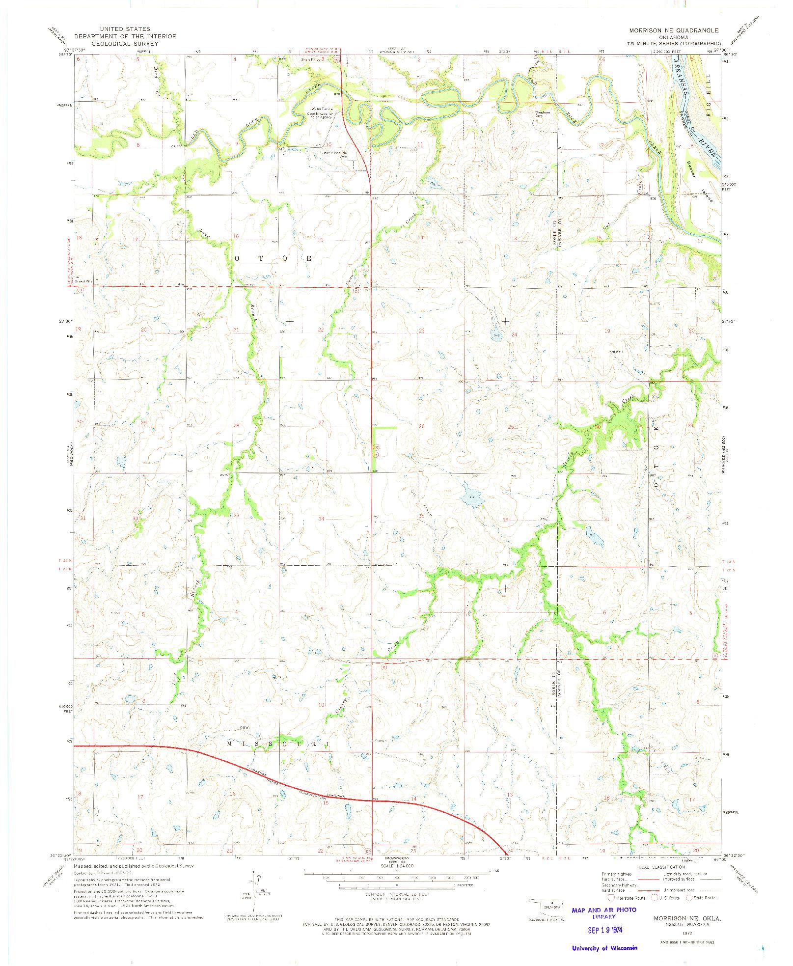USGS 1:24000-SCALE QUADRANGLE FOR MORRISON NE, OK 1972