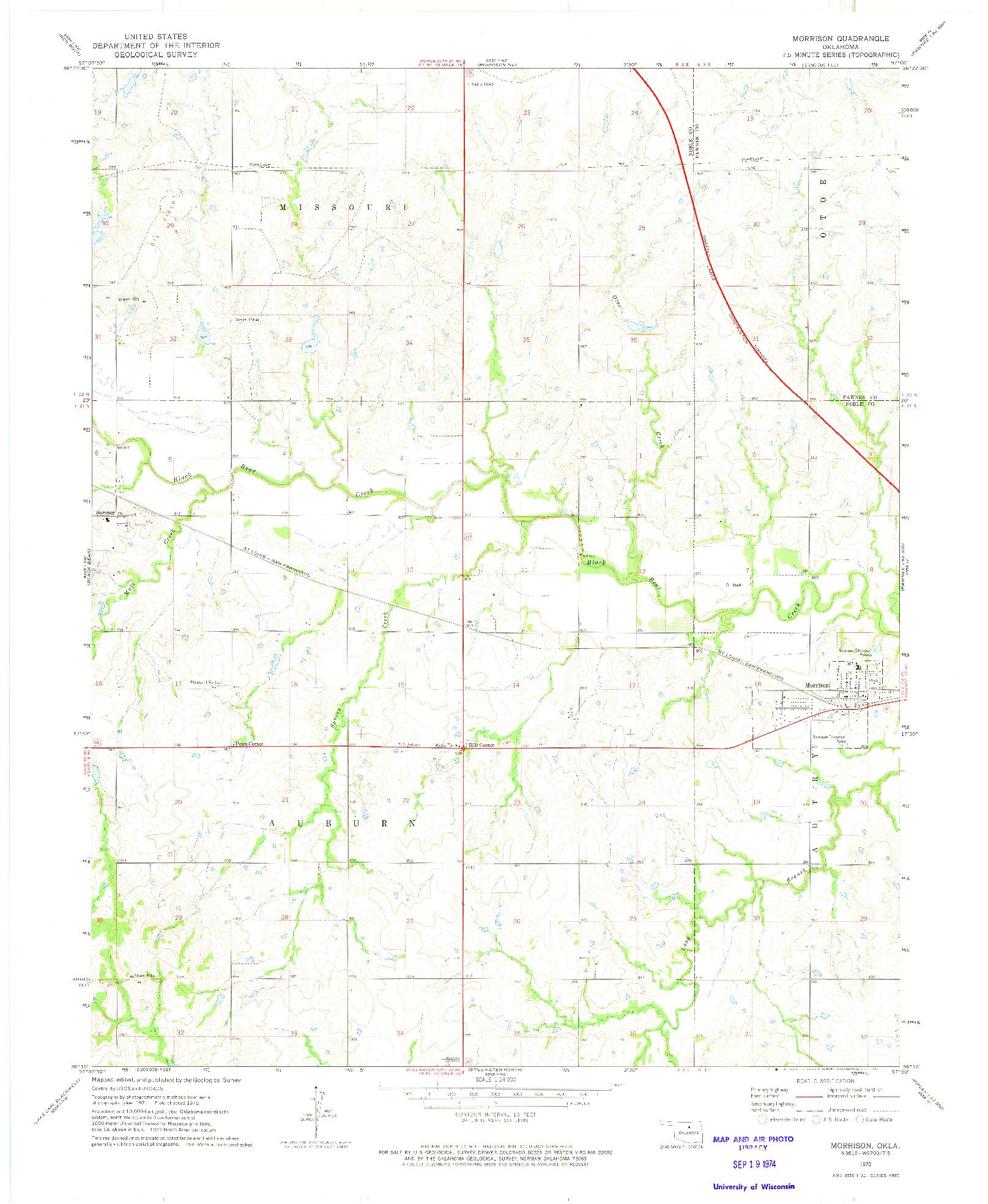 USGS 1:24000-SCALE QUADRANGLE FOR MORRISON, OK 1972