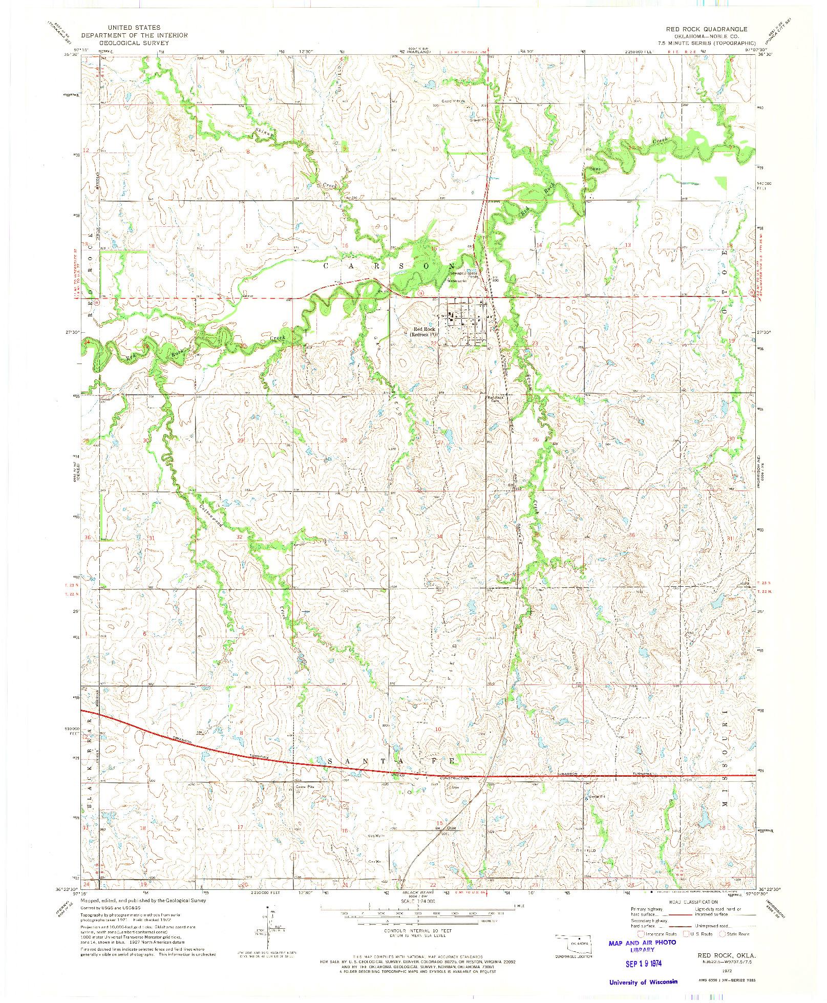 USGS 1:24000-SCALE QUADRANGLE FOR RED ROCK, OK 1972