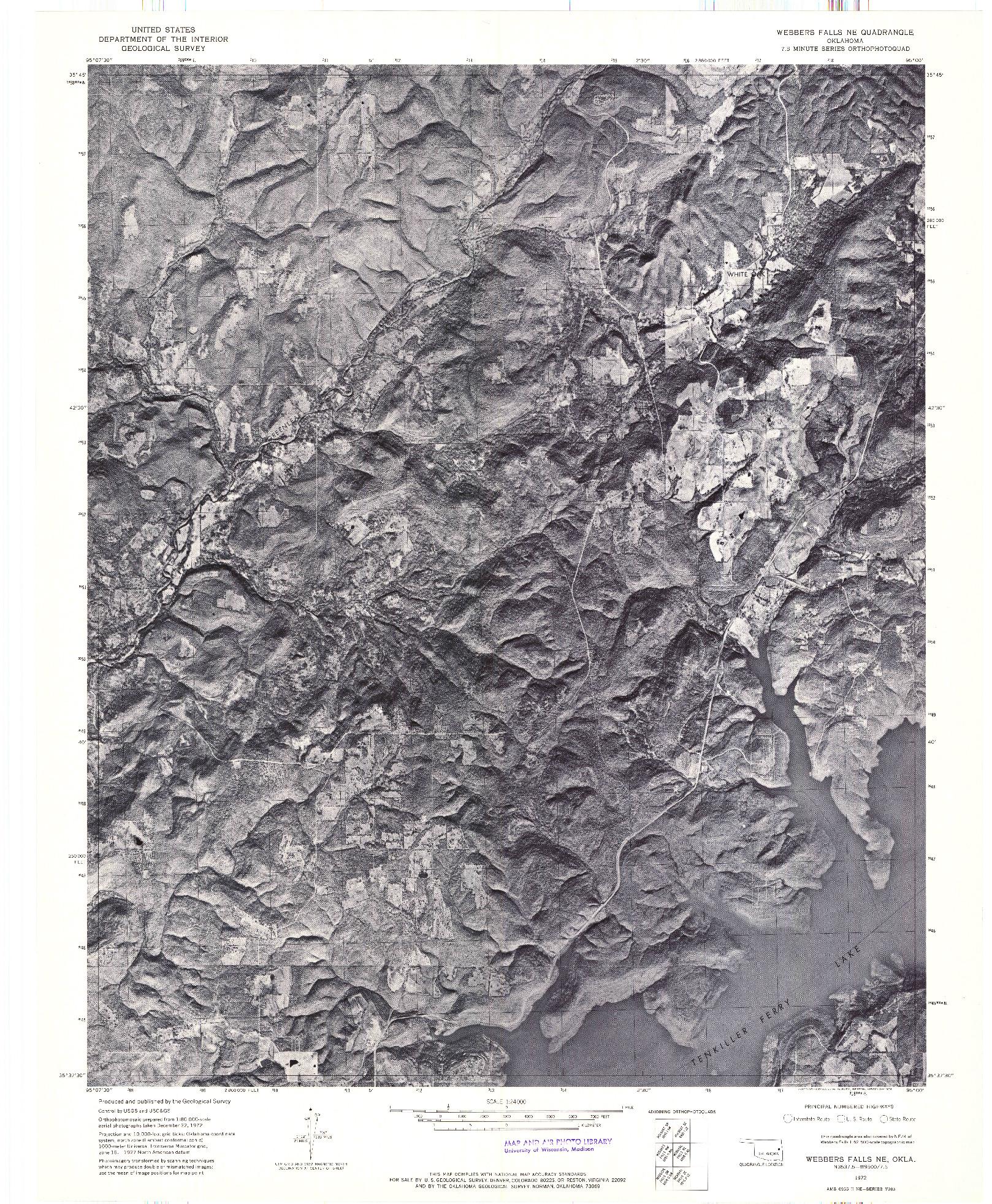 USGS 1:24000-SCALE QUADRANGLE FOR WEBBERS FALLS NE, OK 1972