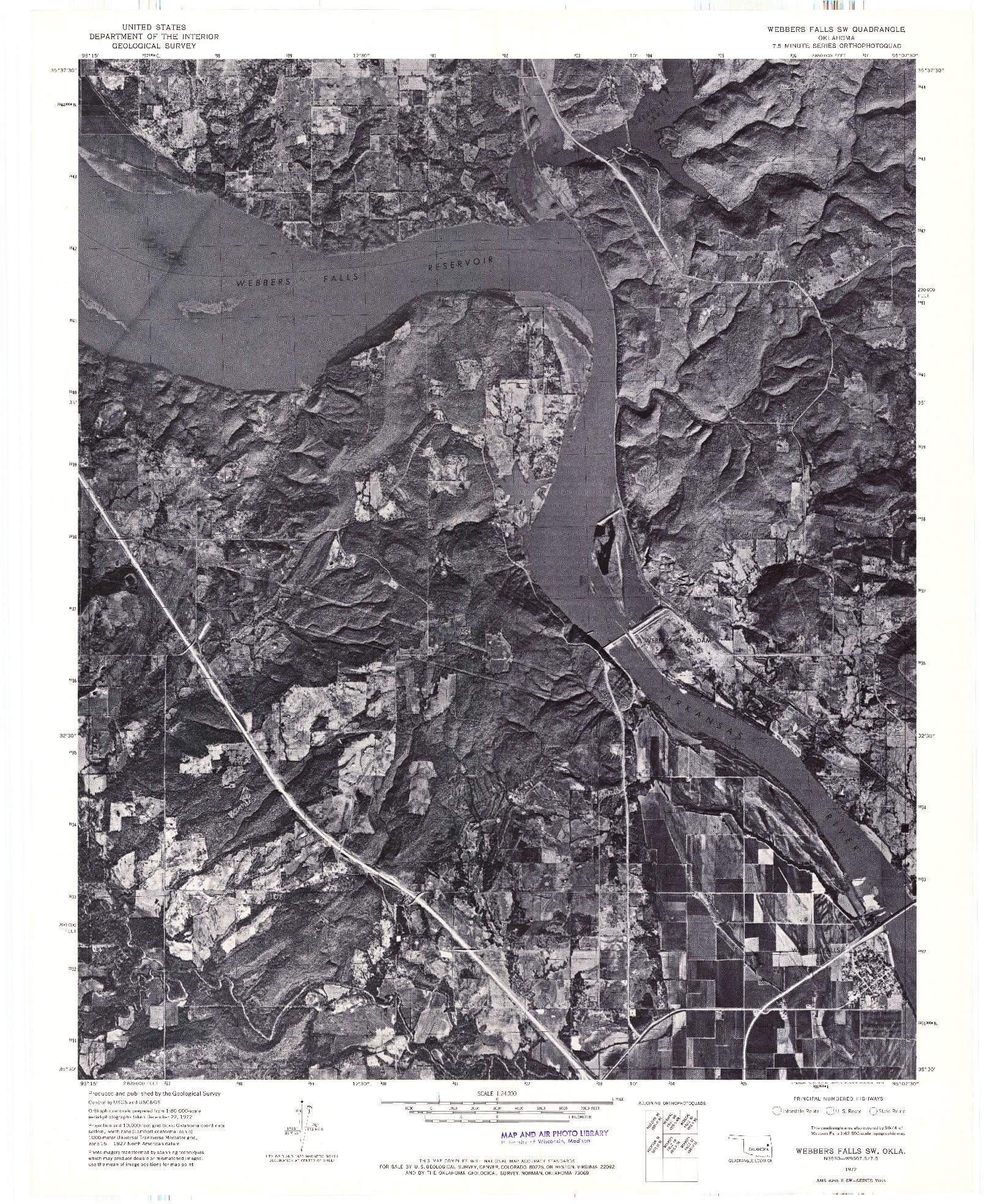 USGS 1:24000-SCALE QUADRANGLE FOR WEBBERS FALLS SW, OK 1972