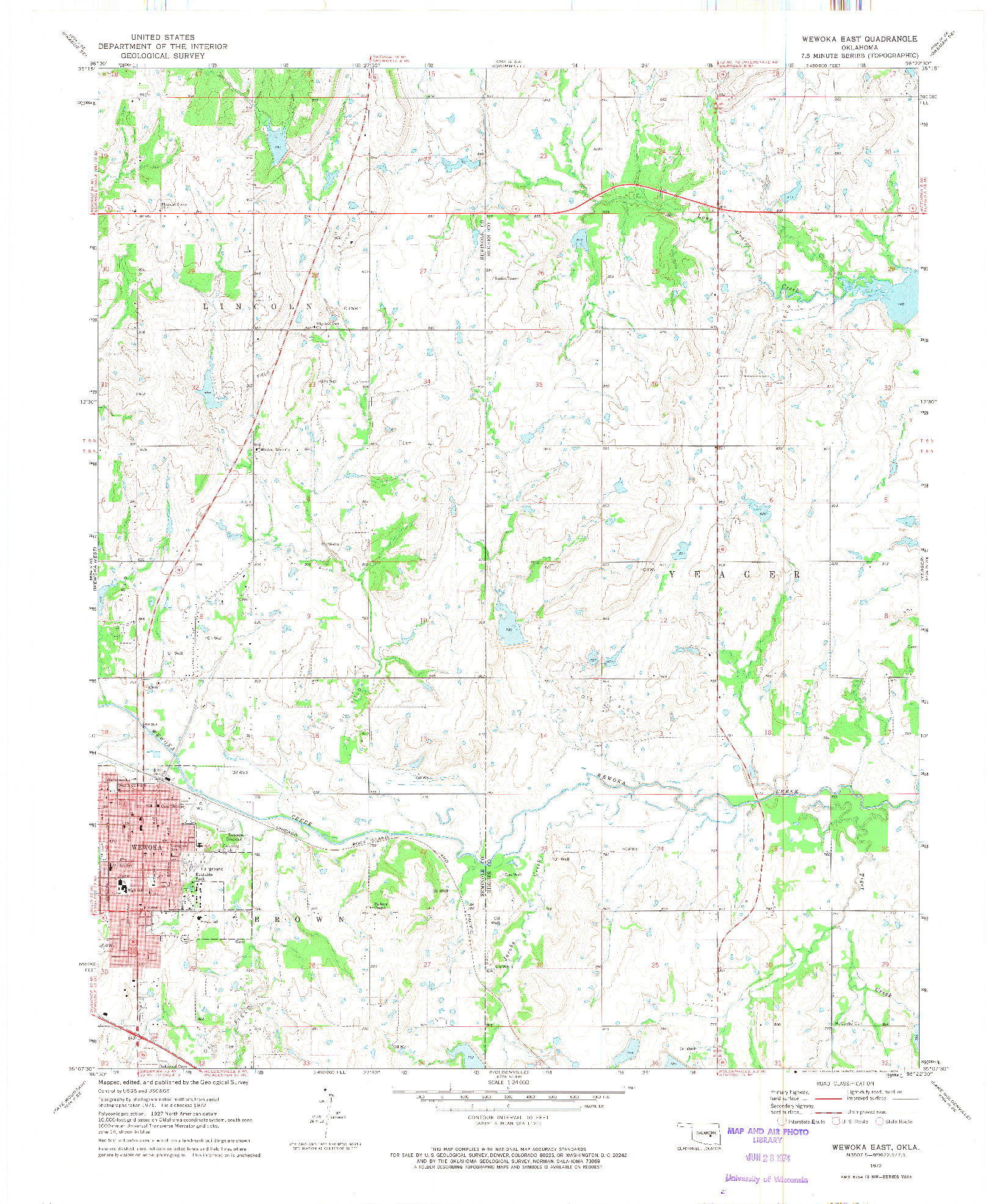 USGS 1:24000-SCALE QUADRANGLE FOR WEWOKA EAST, OK 1972