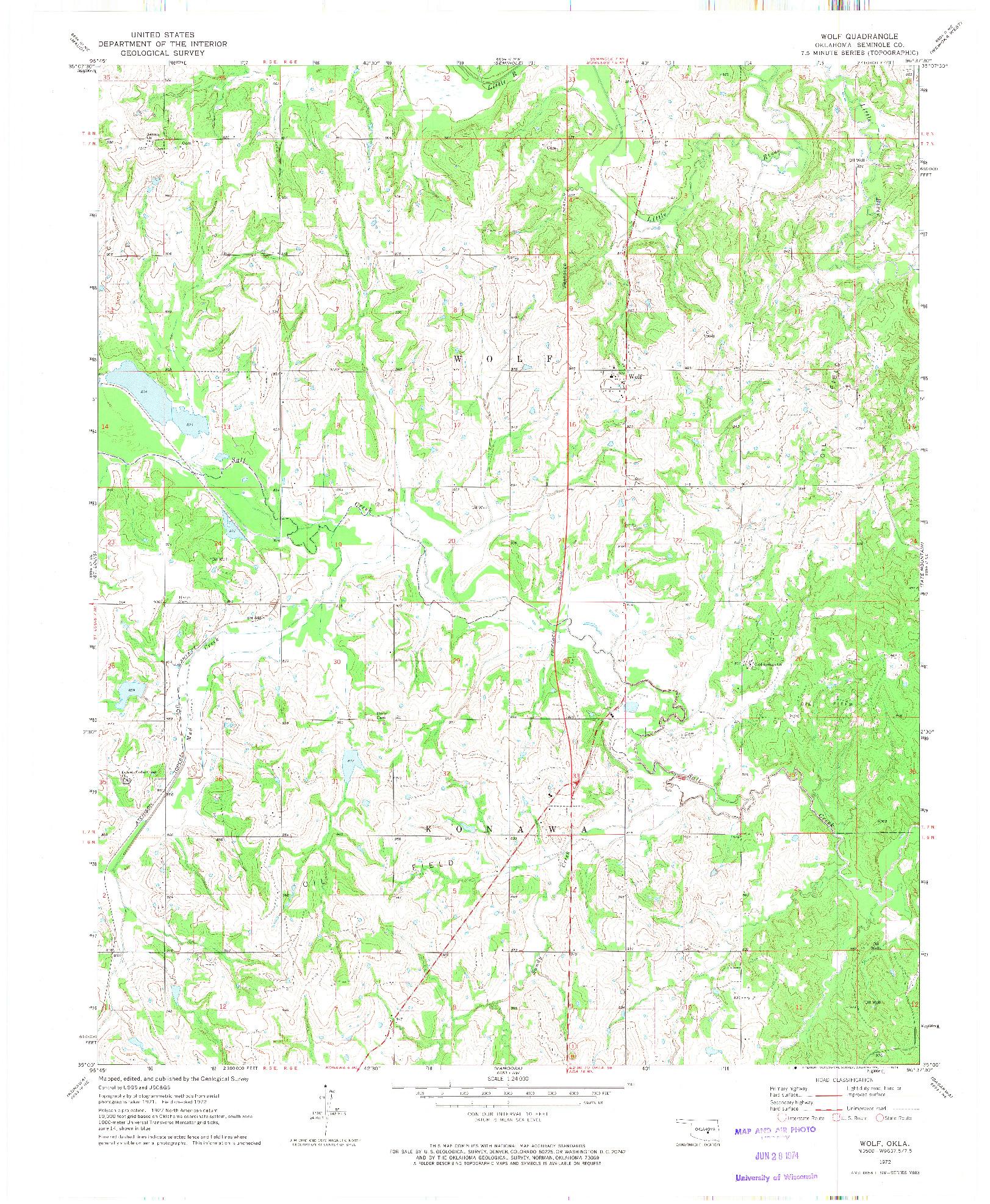 USGS 1:24000-SCALE QUADRANGLE FOR WOLF, OK 1972