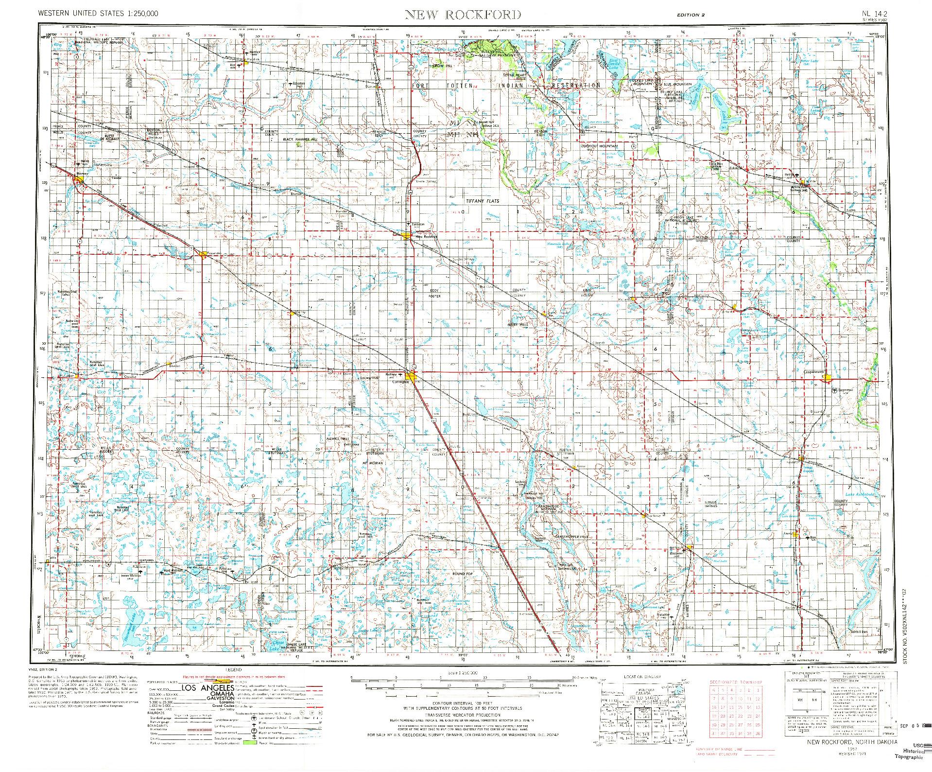 USGS 1:250000-SCALE QUADRANGLE FOR NEW ROCKFORD, ND 1971