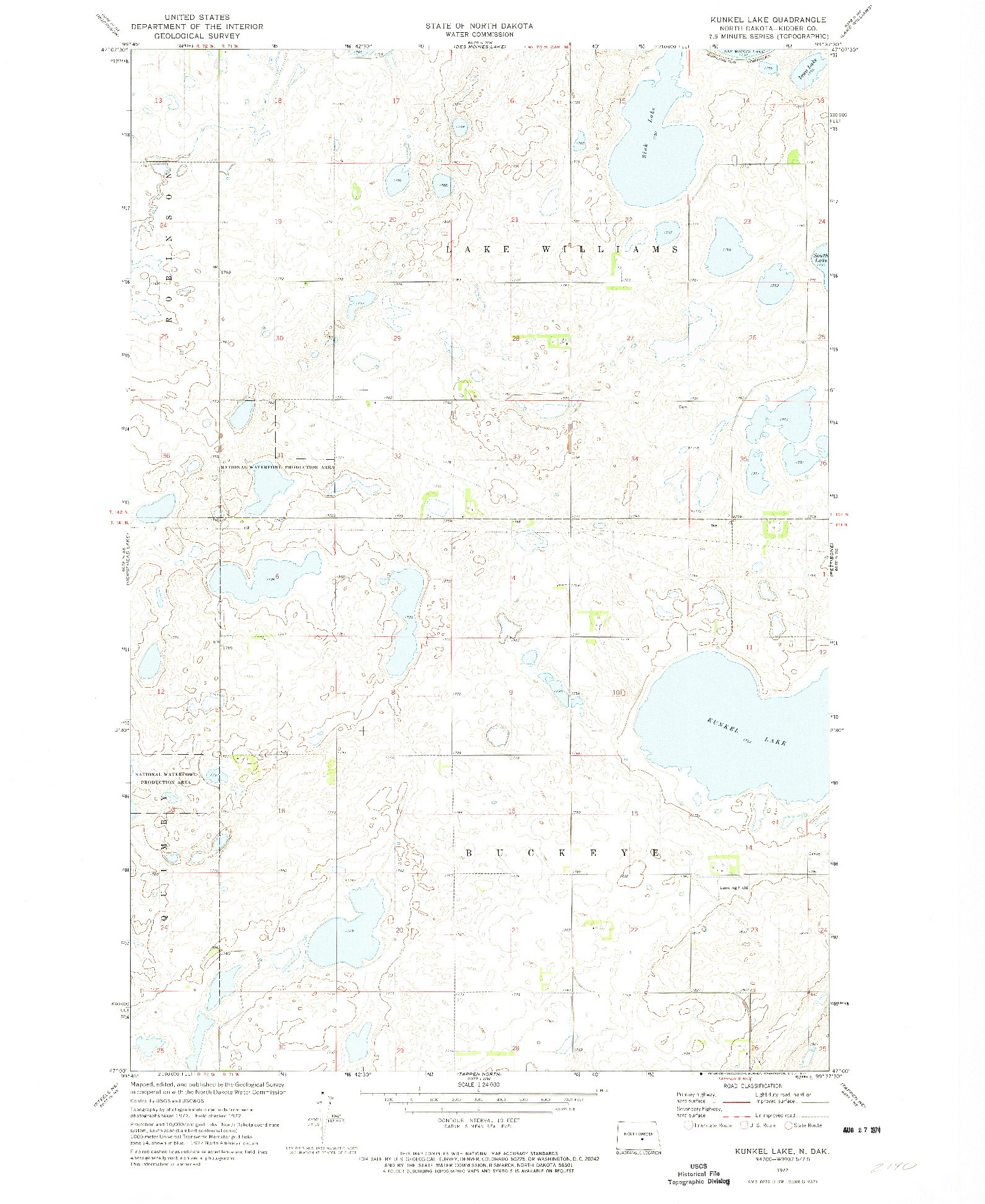 USGS 1:24000-SCALE QUADRANGLE FOR KUNKEL LAKE, ND 1972