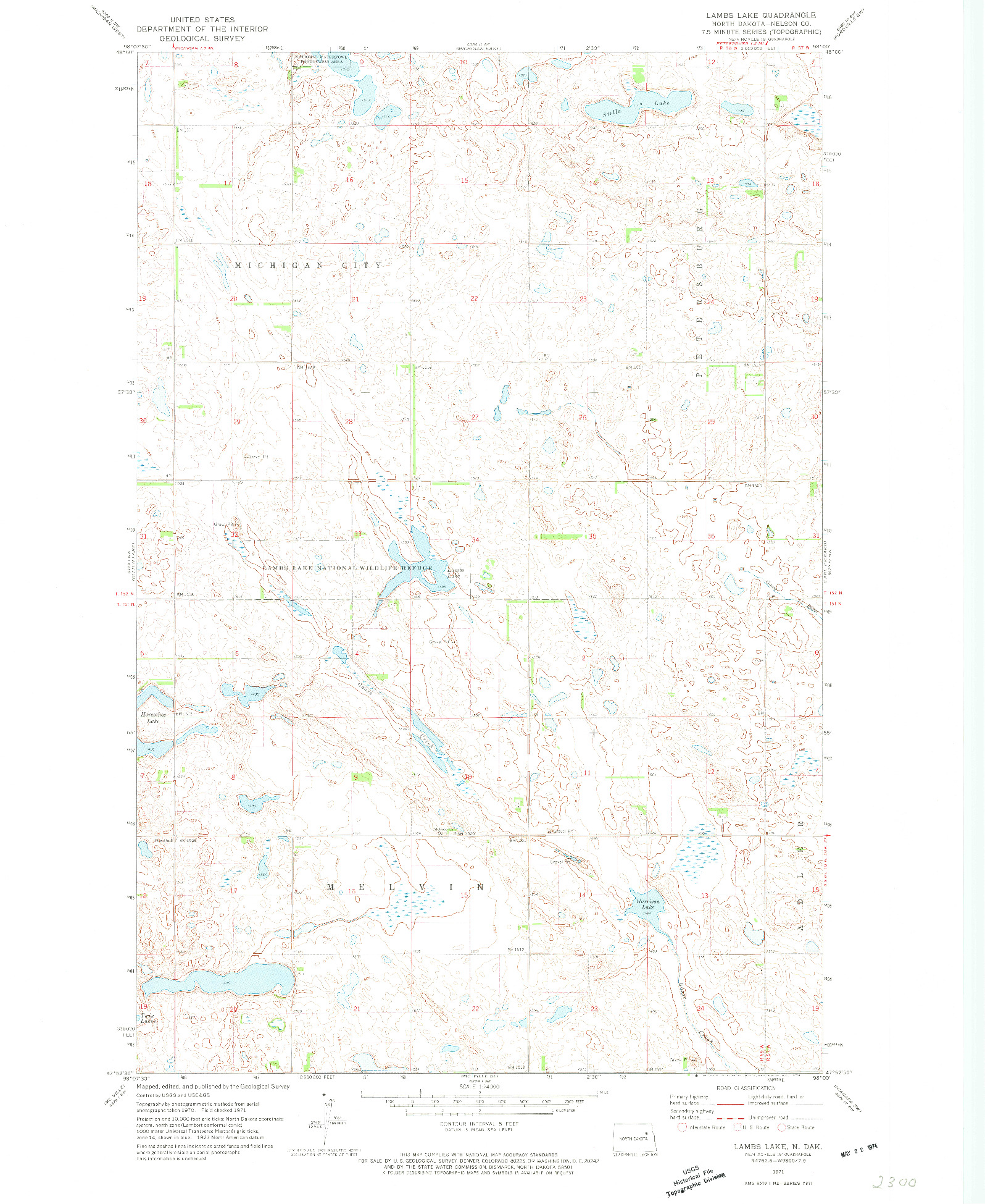 USGS 1:24000-SCALE QUADRANGLE FOR LAMBS LAKE, ND 1971