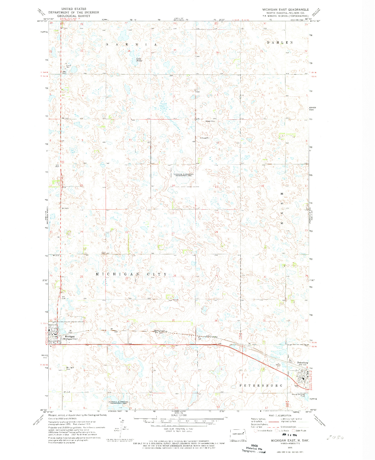 USGS 1:24000-SCALE QUADRANGLE FOR MICHIGAN EAST, ND 1971