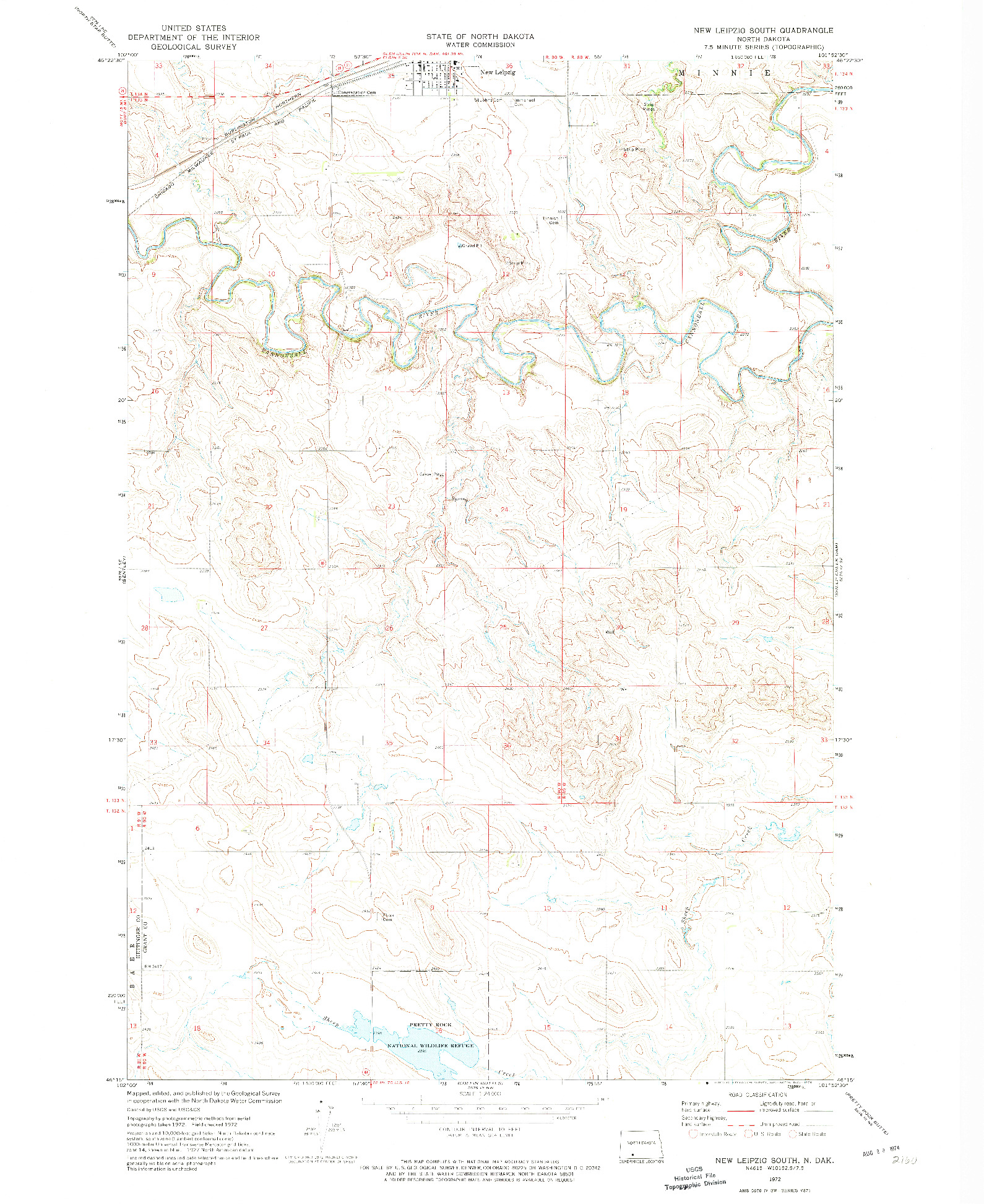 USGS 1:24000-SCALE QUADRANGLE FOR NEW LEIPZIG SOUTH, ND 1972