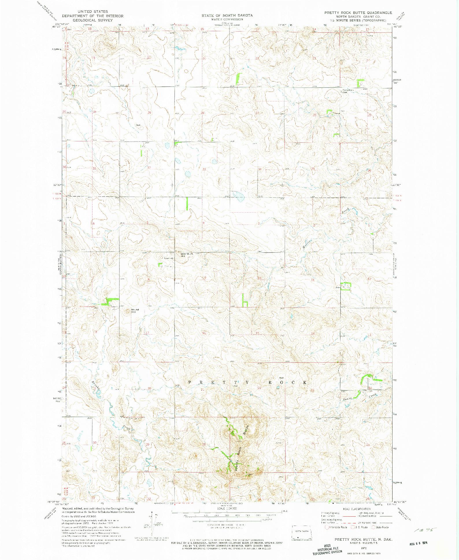USGS 1:24000-SCALE QUADRANGLE FOR PRETTY ROCK BUTTE, ND 1972