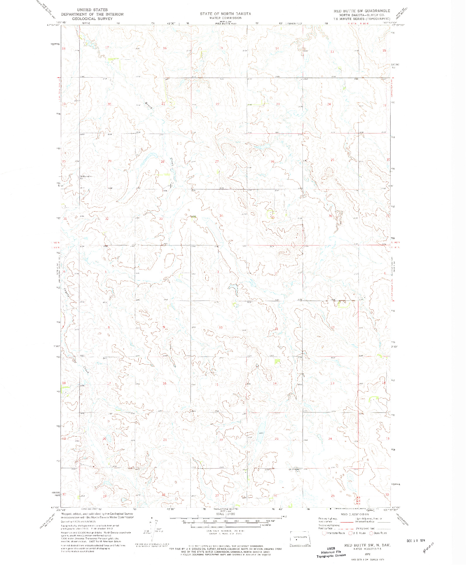 USGS 1:24000-SCALE QUADRANGLE FOR RED BUTTE SW, ND 1972