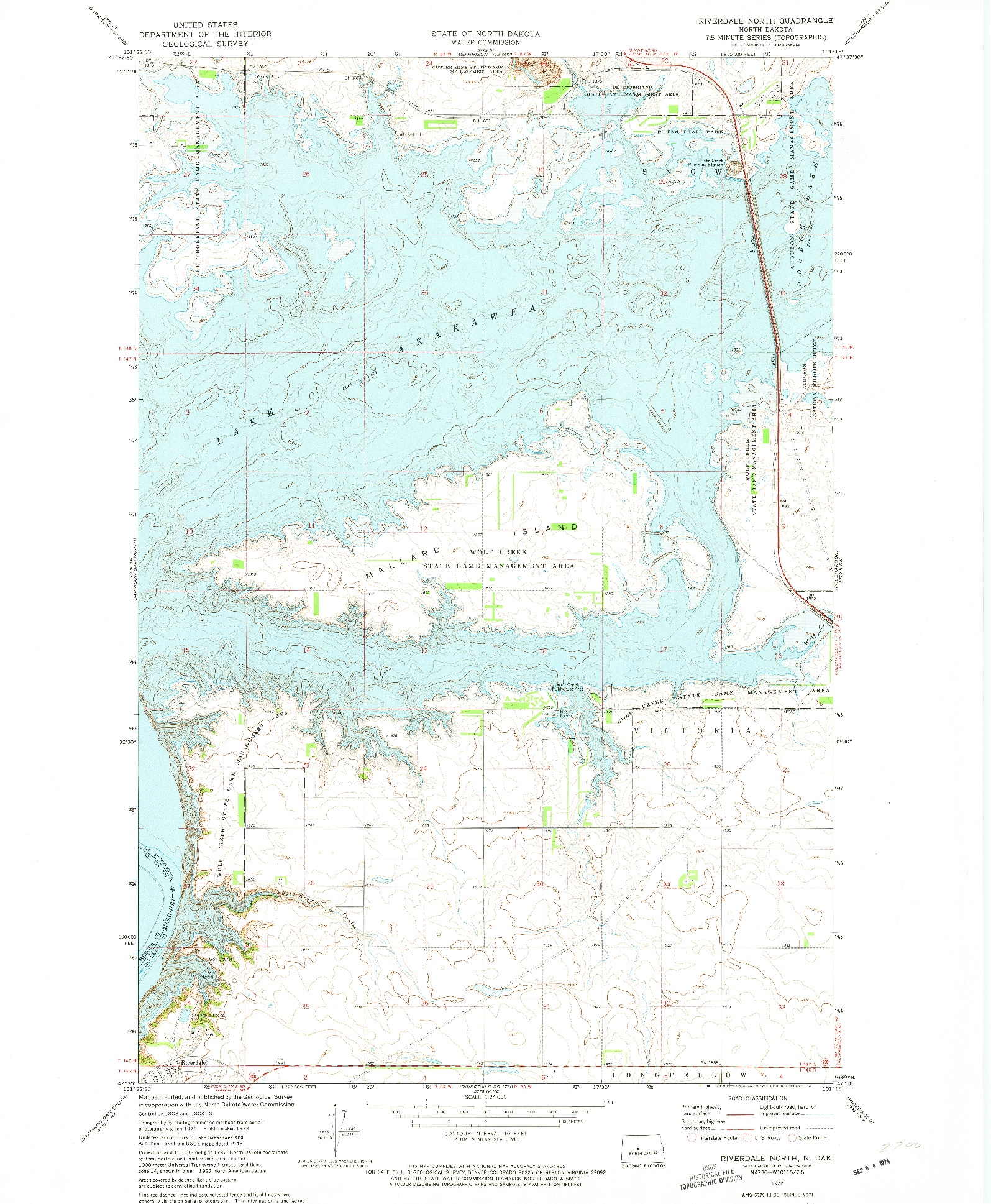 USGS 1:24000-SCALE QUADRANGLE FOR RIVERDALE NORTH, ND 1972