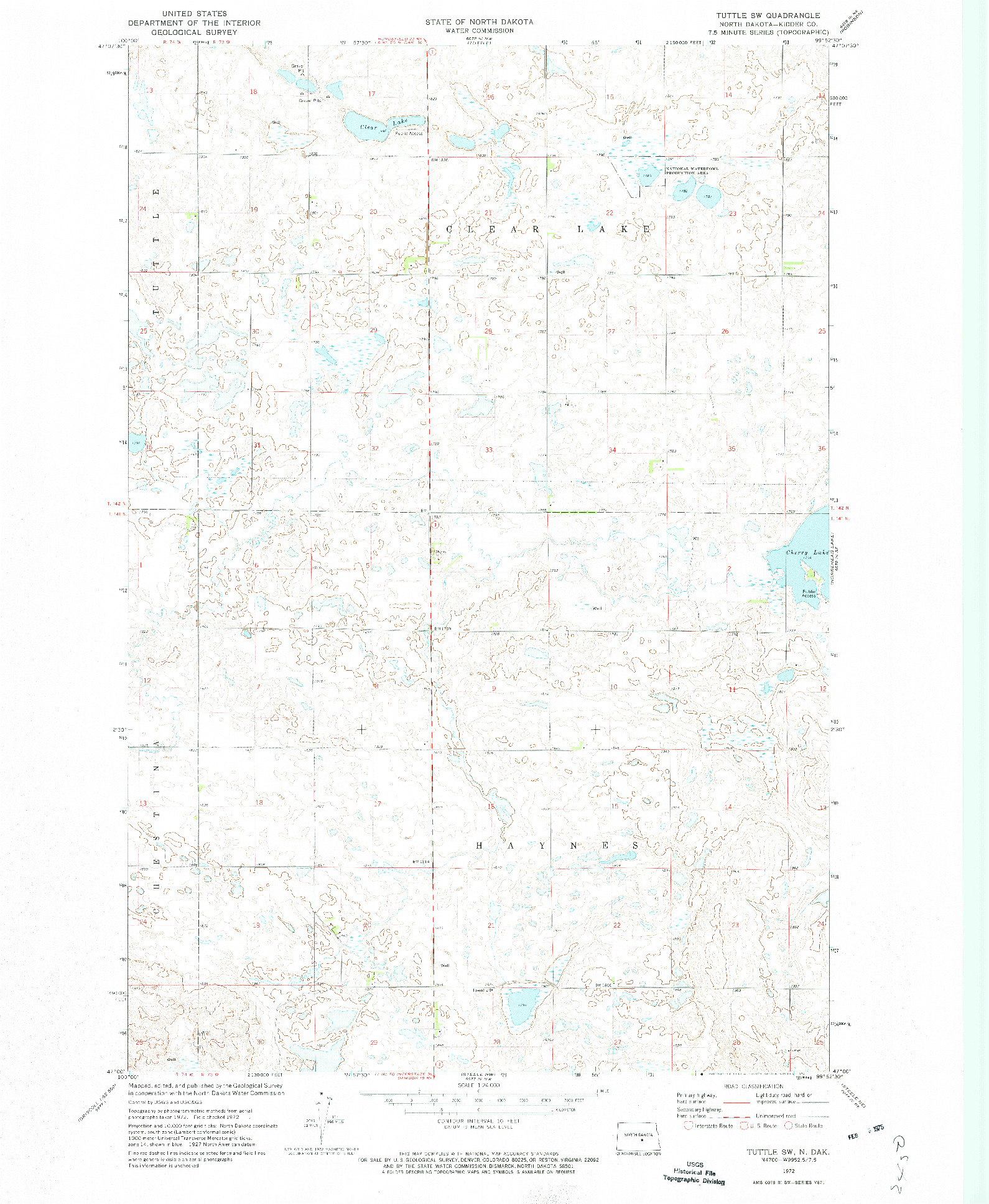 USGS 1:24000-SCALE QUADRANGLE FOR TUTTLE SW, ND 1972