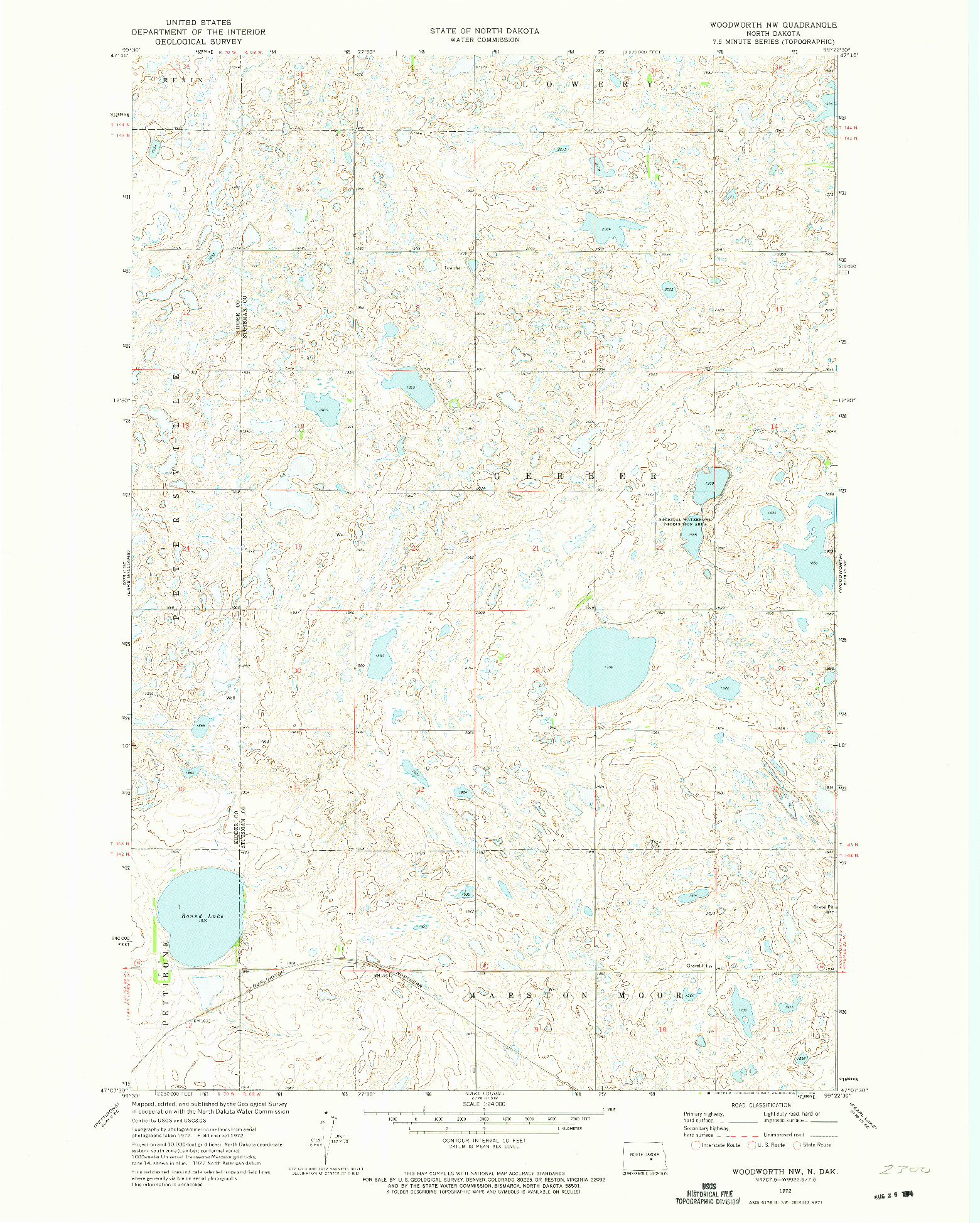 USGS 1:24000-SCALE QUADRANGLE FOR WOODWORTH NW, ND 1972