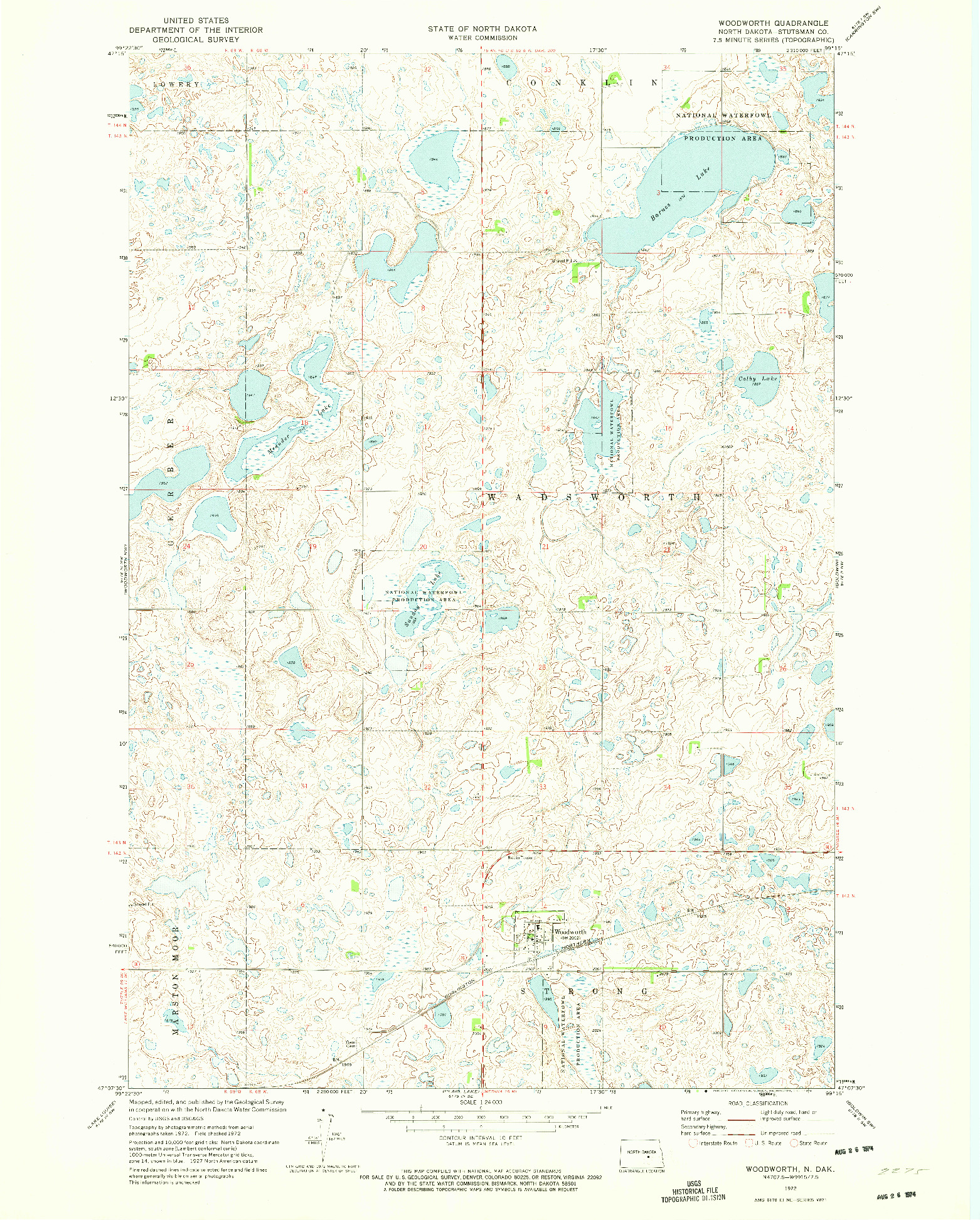 USGS 1:24000-SCALE QUADRANGLE FOR WOODWORTH, ND 1972