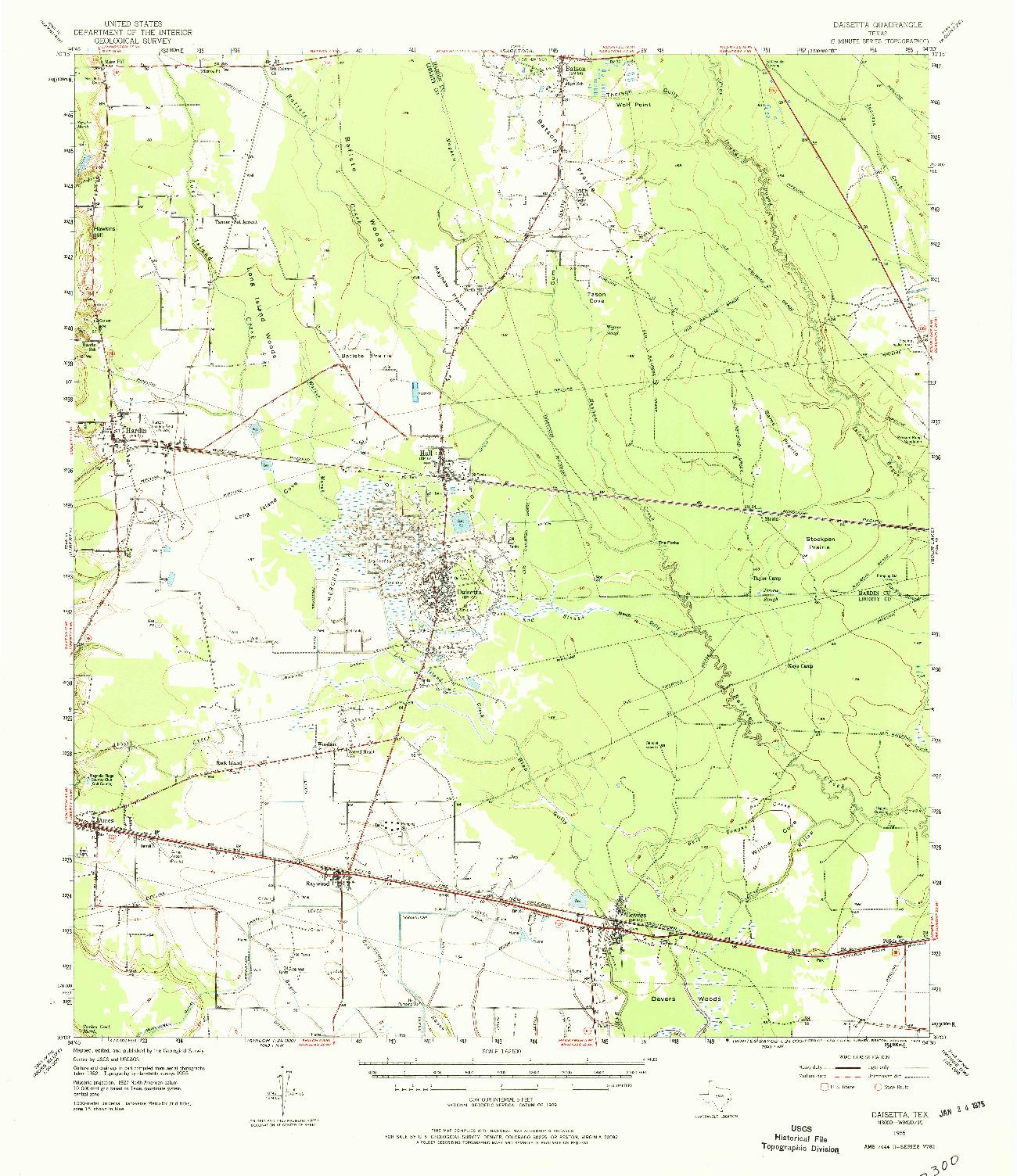 USGS 1:62500-SCALE QUADRANGLE FOR DAISETTA, TX 1955