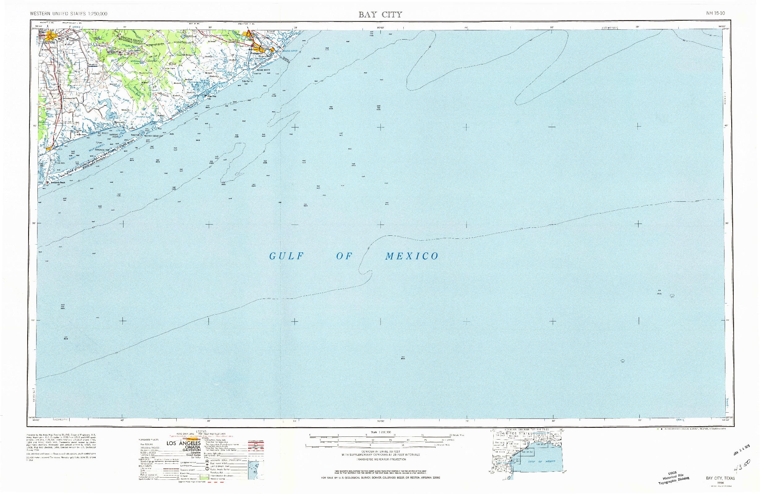 USGS 1:250000-SCALE QUADRANGLE FOR BAY CITY, TX 1956