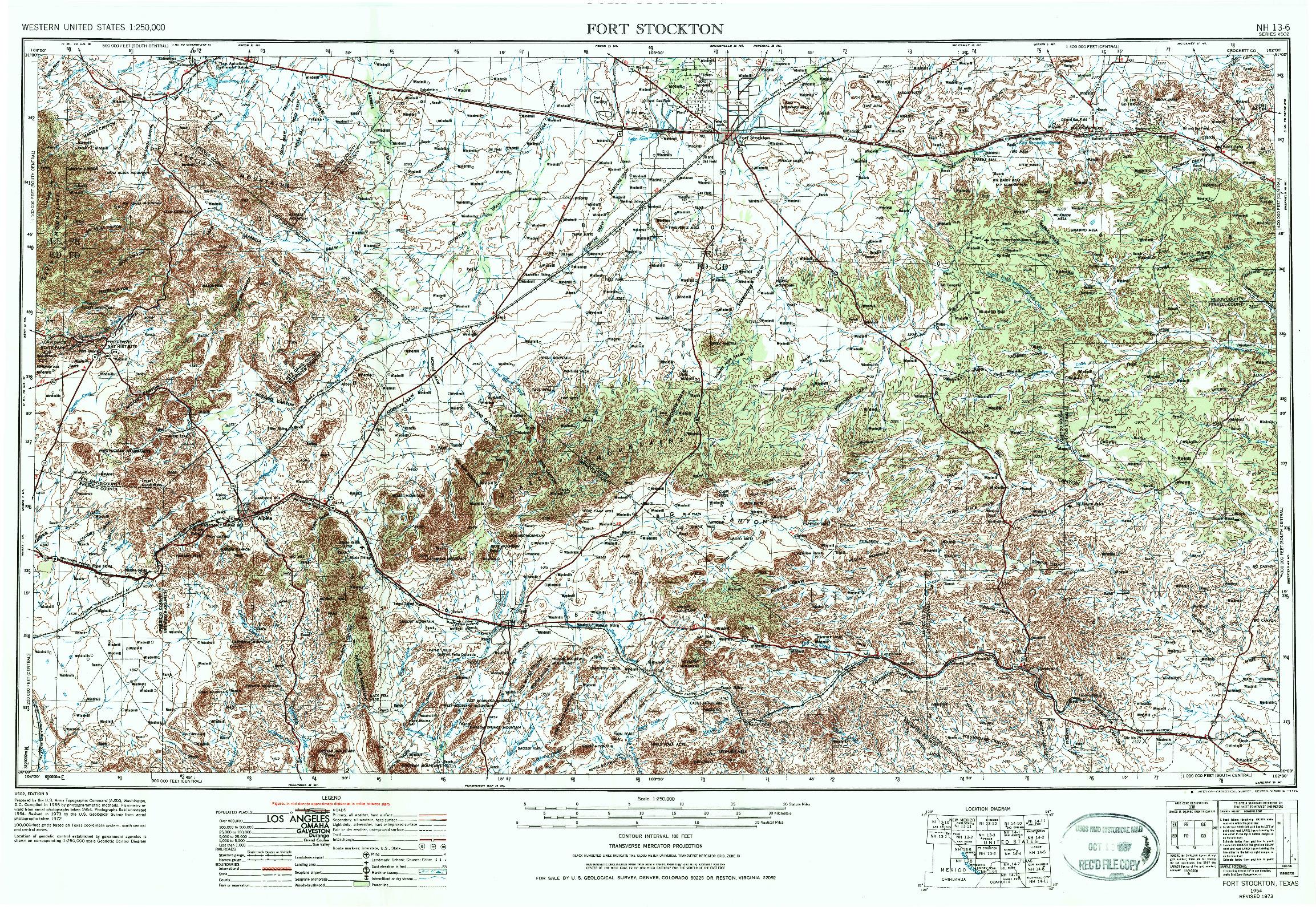 USGS 1:250000-SCALE QUADRANGLE FOR FORT STOCKTON, TX 1954