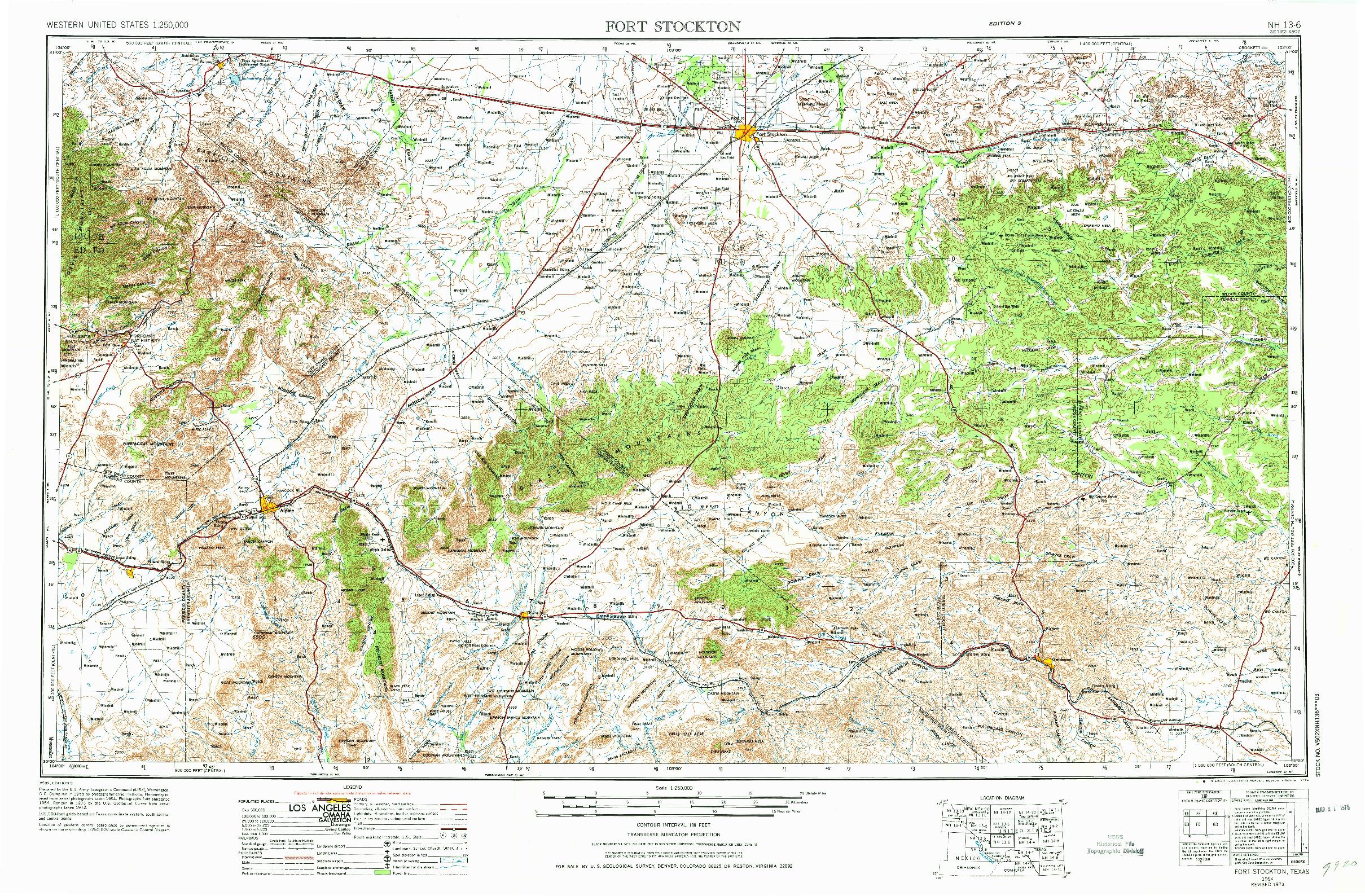 USGS 1:250000-SCALE QUADRANGLE FOR FORT STOCKTON, TX 1973
