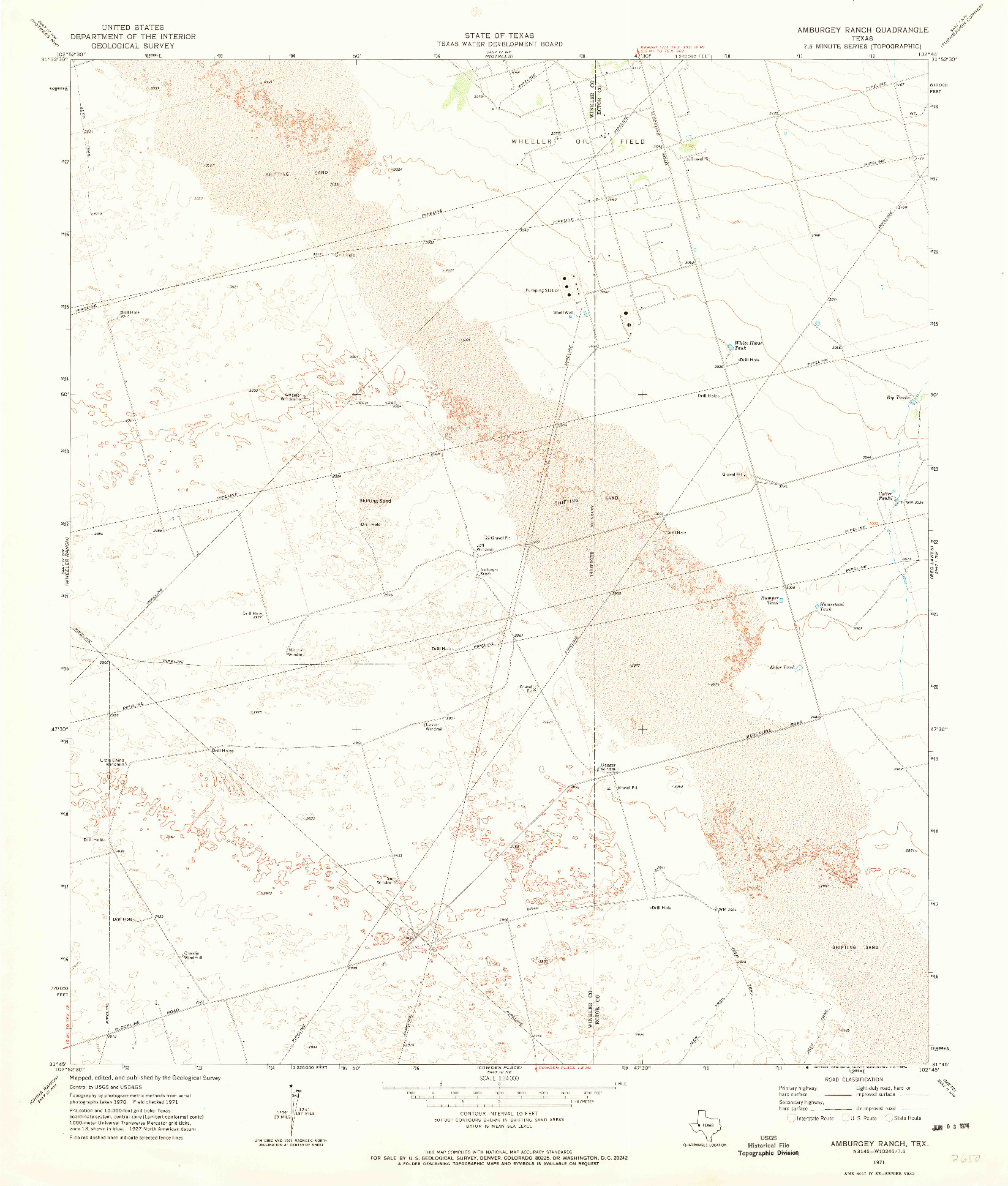 USGS 1:24000-SCALE QUADRANGLE FOR AMBURGEY RANCH, TX 1971