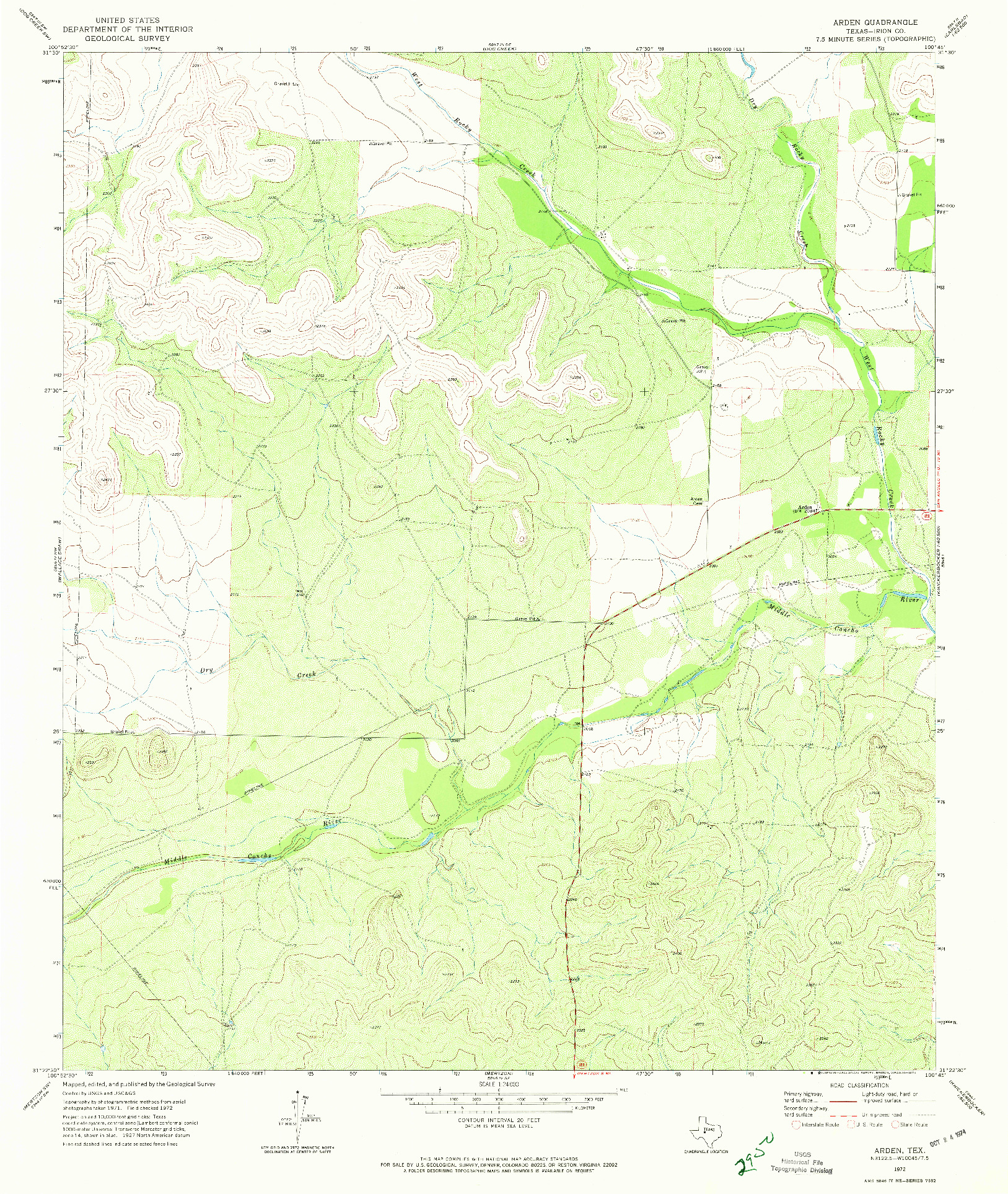 USGS 1:24000-SCALE QUADRANGLE FOR ARDEN, TX 1972