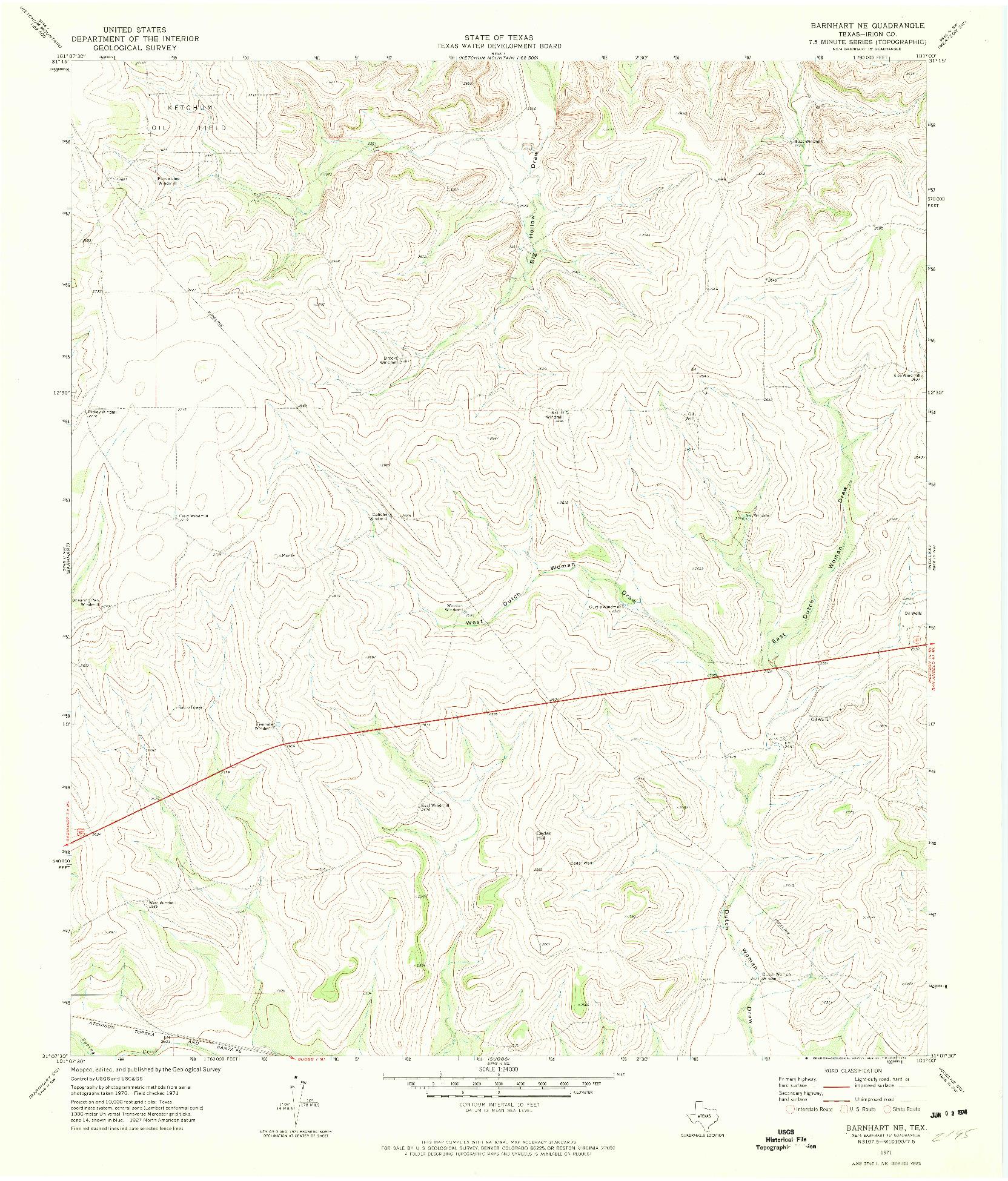 USGS 1:24000-SCALE QUADRANGLE FOR BARNHART NE, TX 1971