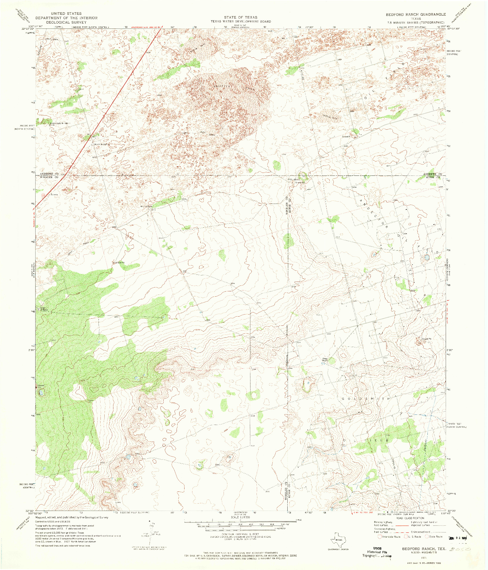 USGS 1:24000-SCALE QUADRANGLE FOR BEDFORD RANCH, TX 1971