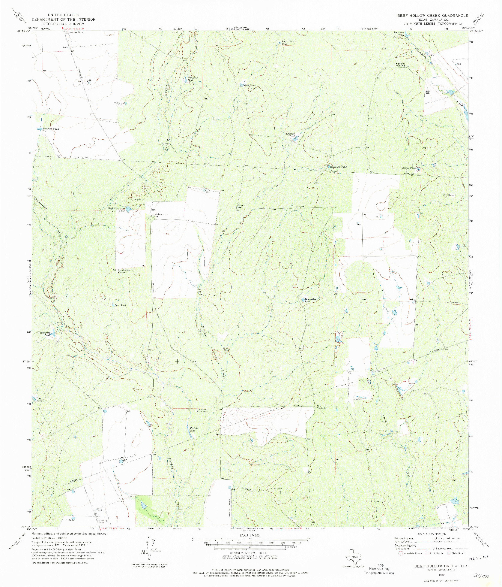 USGS 1:24000-SCALE QUADRANGLE FOR BEEF HOLLOW CREEK, TX 1972