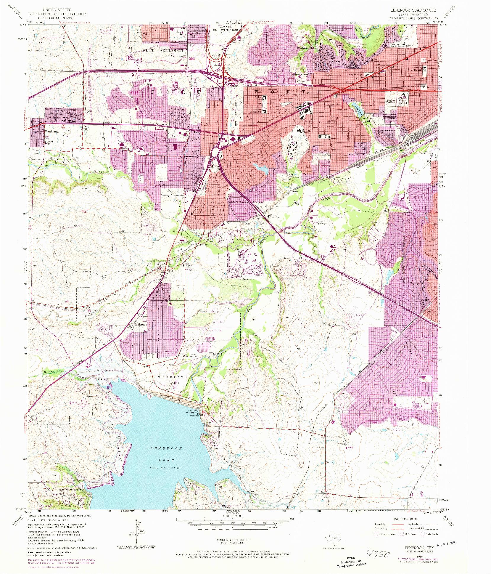 USGS 1:24000-SCALE QUADRANGLE FOR BENBROOK, TX 1955