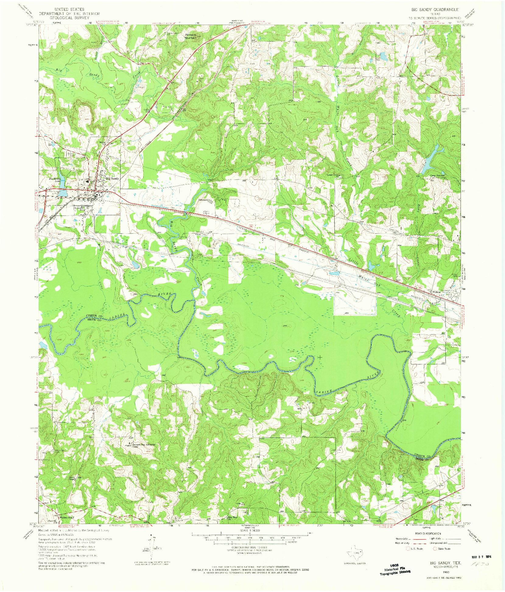 USGS 1:24000-SCALE QUADRANGLE FOR BIG SANDY, TX 1960