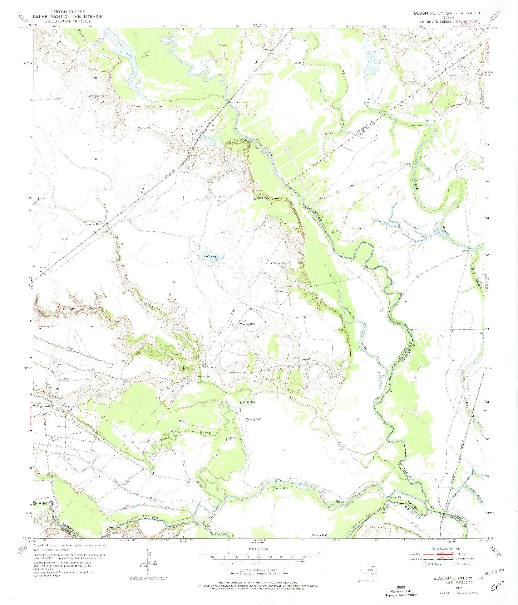 USGS 1:24000-SCALE QUADRANGLE FOR BLOOMINGTON SW, TX 1952