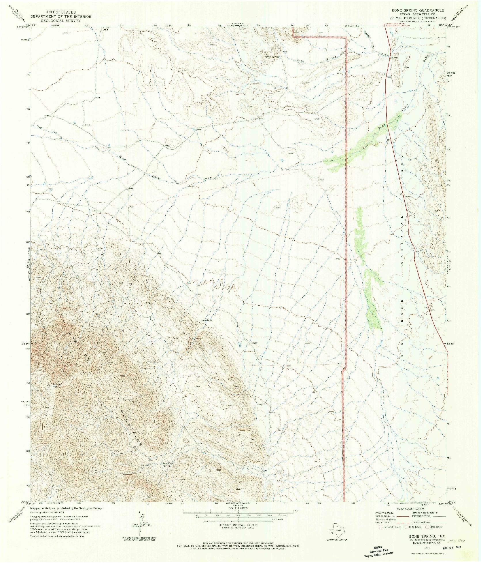 USGS 1:24000-SCALE QUADRANGLE FOR BONE SPRING, TX 1971