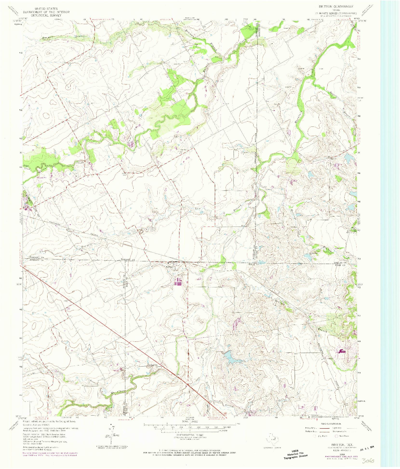 USGS 1:24000-SCALE QUADRANGLE FOR BRITTON, TX 1959