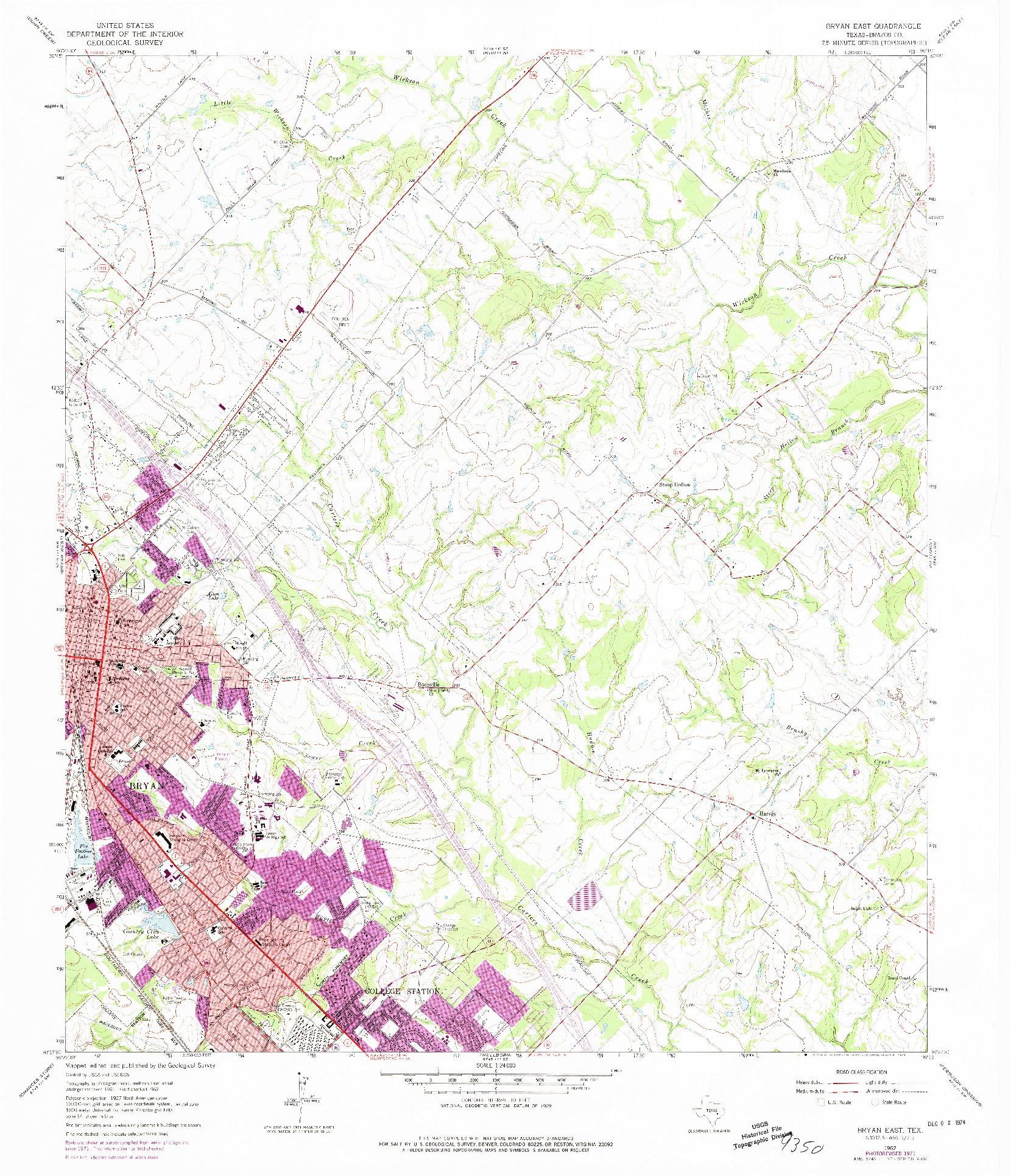 USGS 1:24000-SCALE QUADRANGLE FOR BRYAN EAST, TX 1962