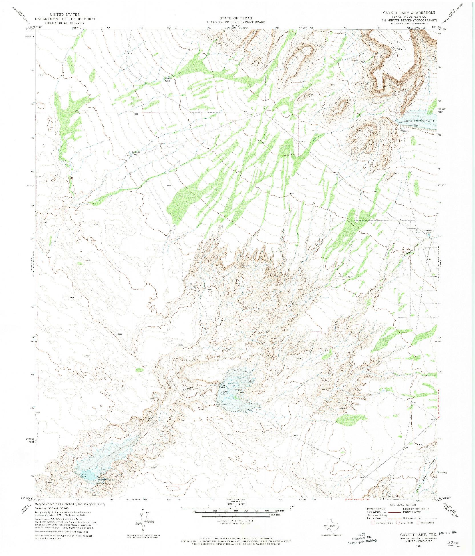 USGS 1:24000-SCALE QUADRANGLE FOR CAVETT LAKE, TX 1972
