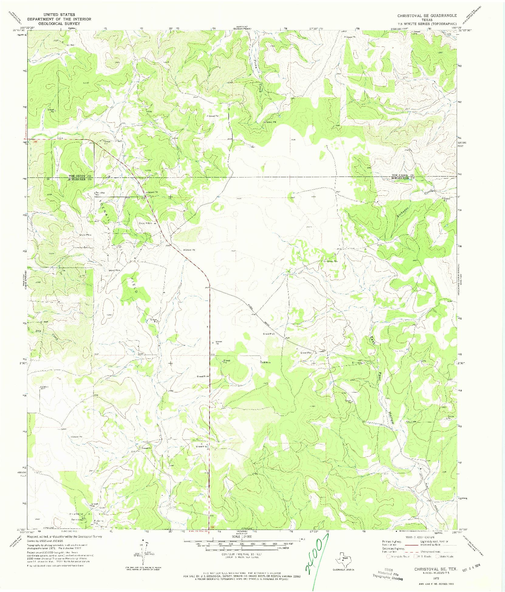 USGS 1:24000-SCALE QUADRANGLE FOR CHRISTOVAL SE, TX 1972