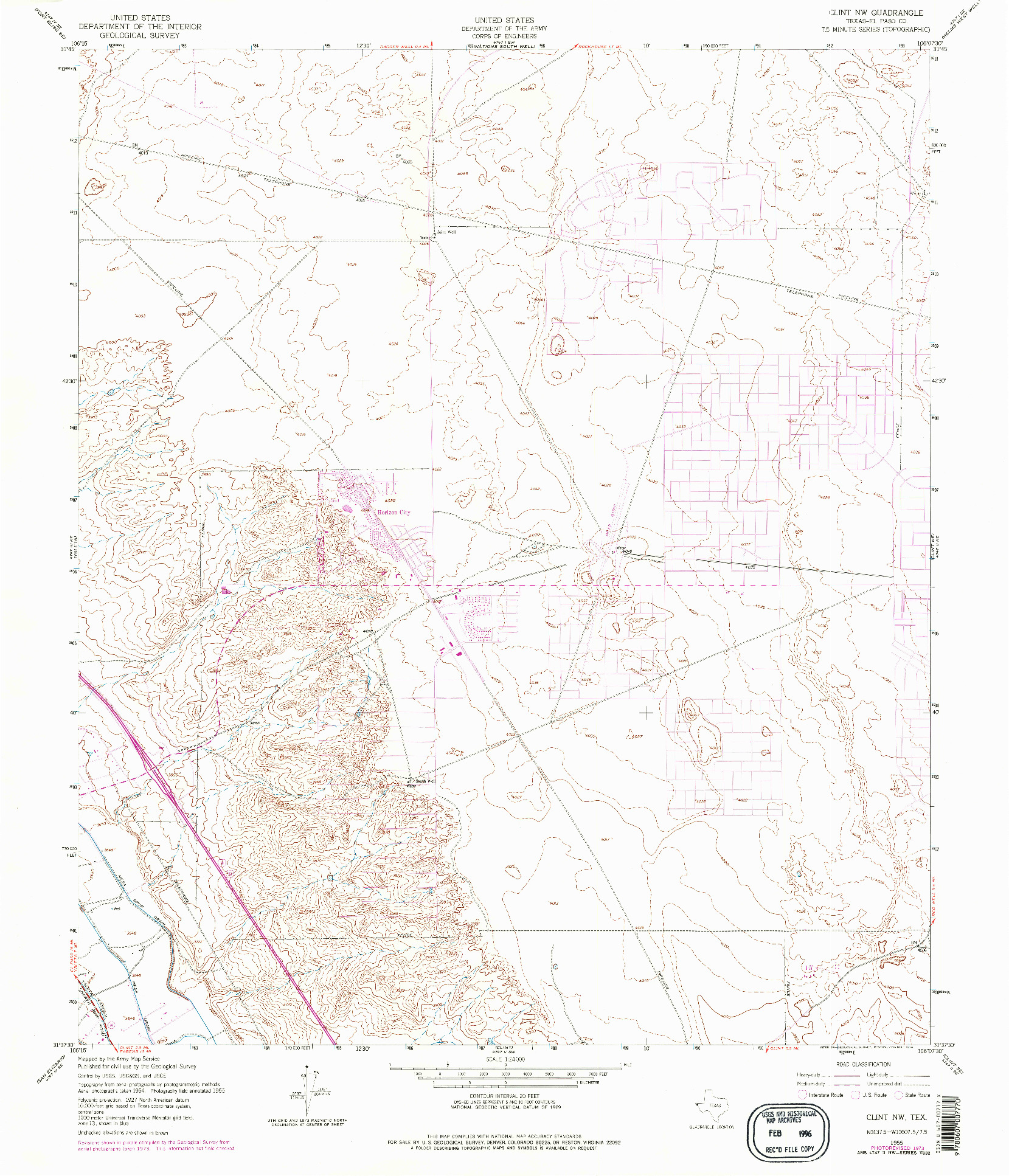 USGS 1:24000-SCALE QUADRANGLE FOR CLINT NW, TX 1955