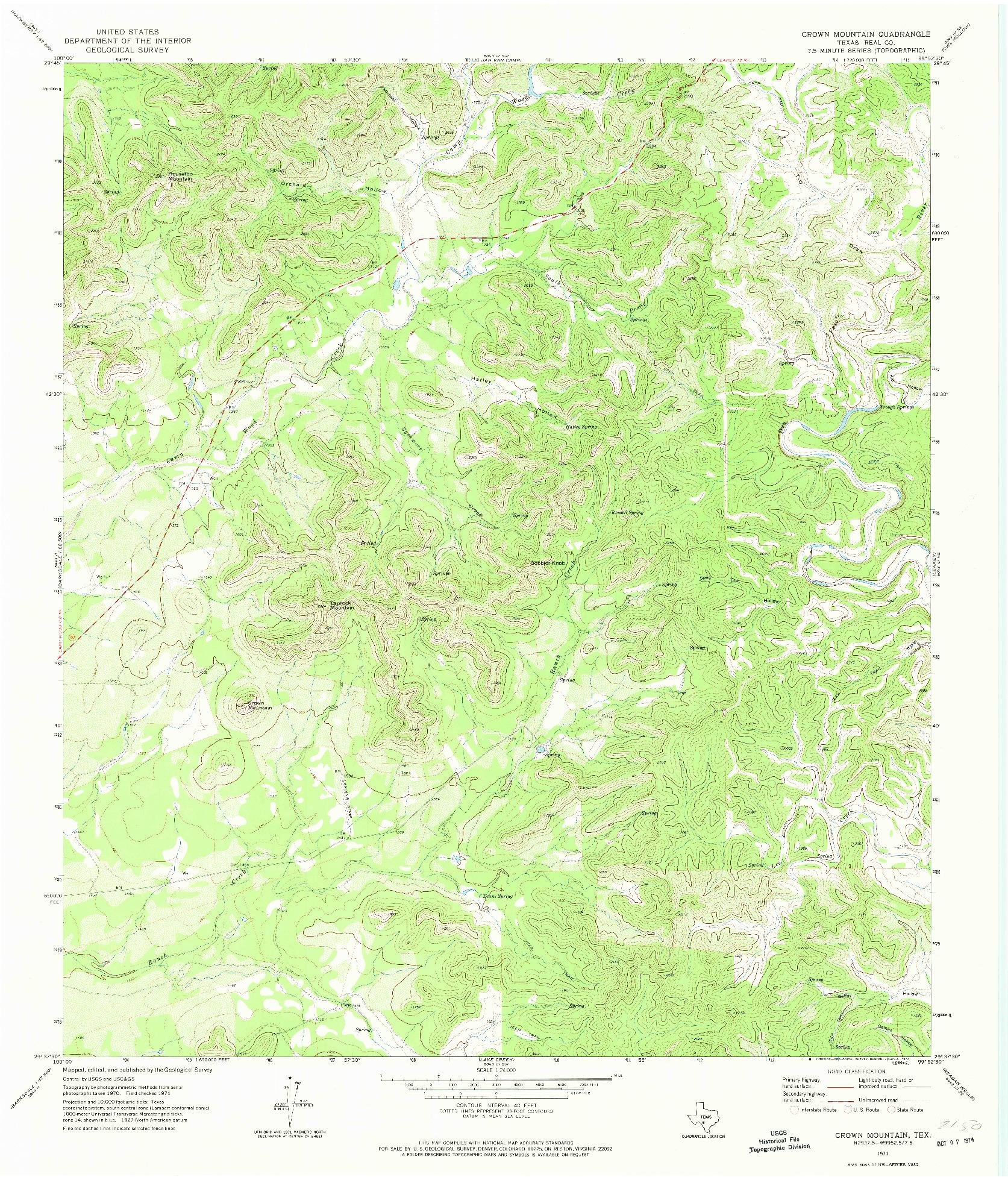 USGS 1:24000-SCALE QUADRANGLE FOR CROWN MOUNTAIN, TX 1971