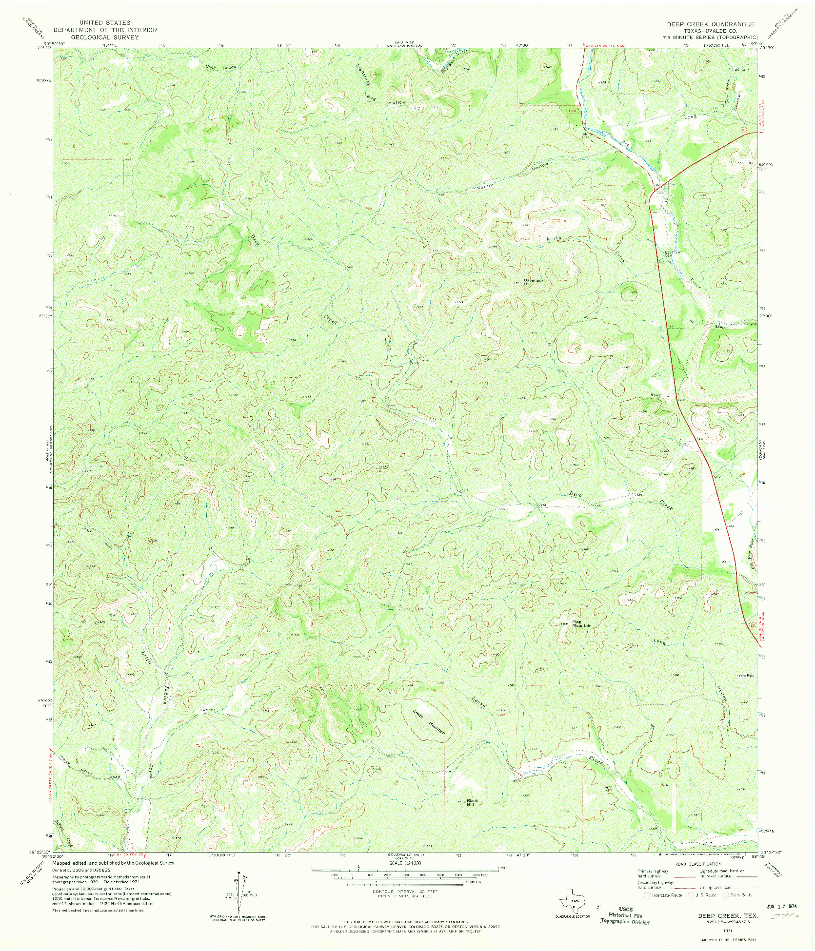 USGS 1:24000-SCALE QUADRANGLE FOR DEEP CREEK, TX 1971