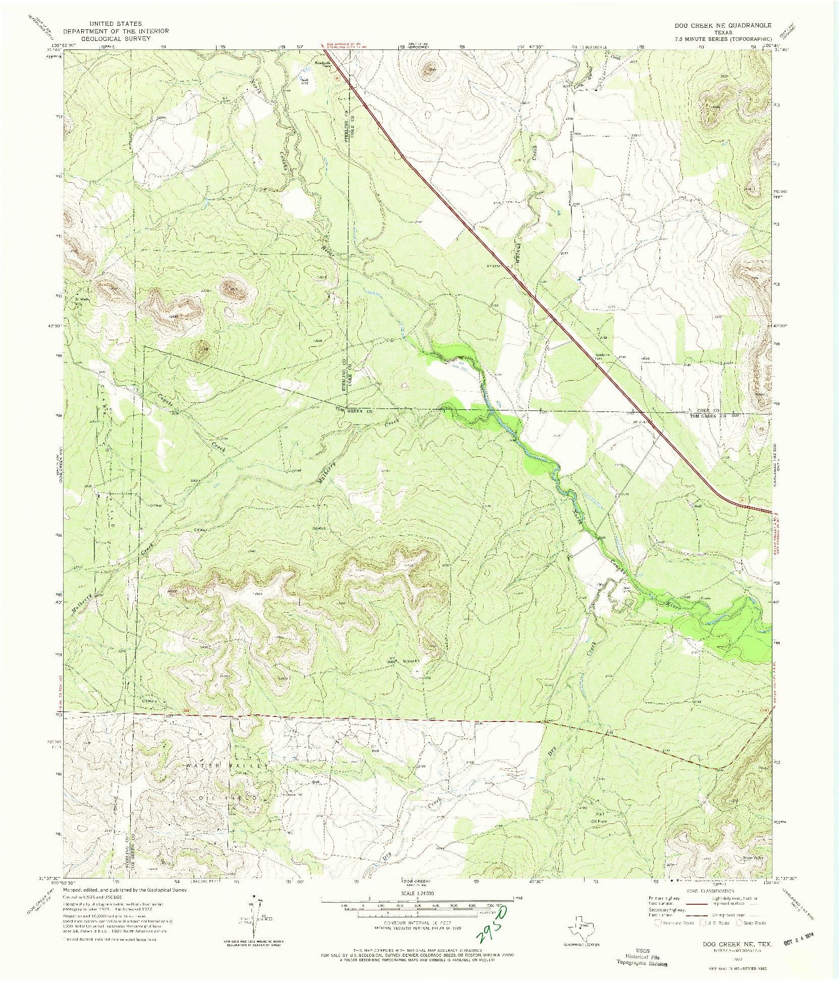 USGS 1:24000-SCALE QUADRANGLE FOR DOG CREEK NE, TX 1972