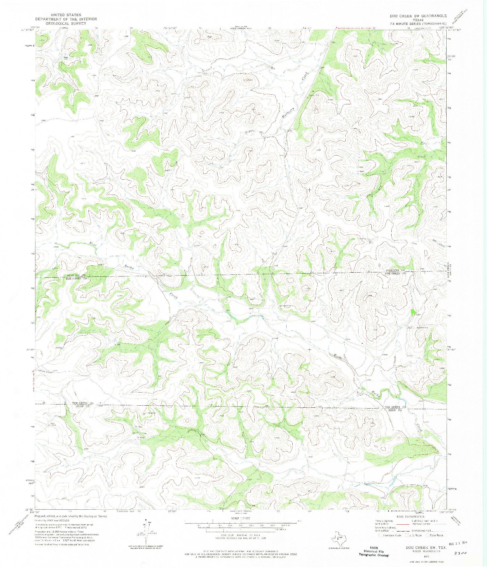 USGS 1:24000-SCALE QUADRANGLE FOR DOG CREEK SW, TX 1972